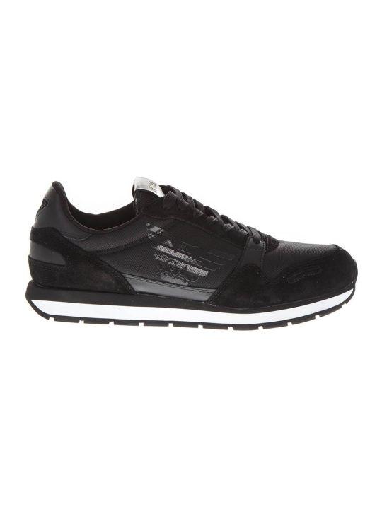 Emporio Armani Black Leather And Nylon Jogging Sneakers