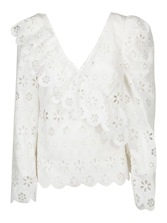 self-portrait Circle-floral Broderie Frill Top