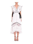 self-portrait Satin Trim Midi Dress