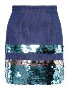 Miu Miu Denim Skirt With Sequins - AZZURRO CELESTE|Blu