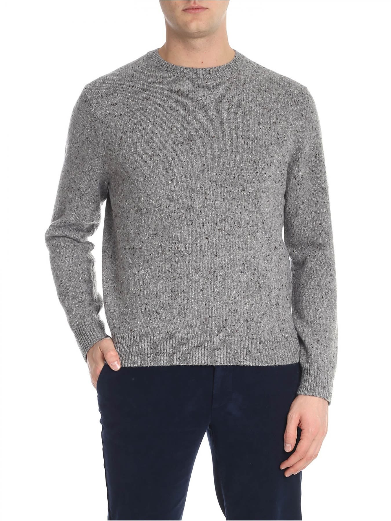 BROOKS BROTHERS Round Neck Wool in Gray