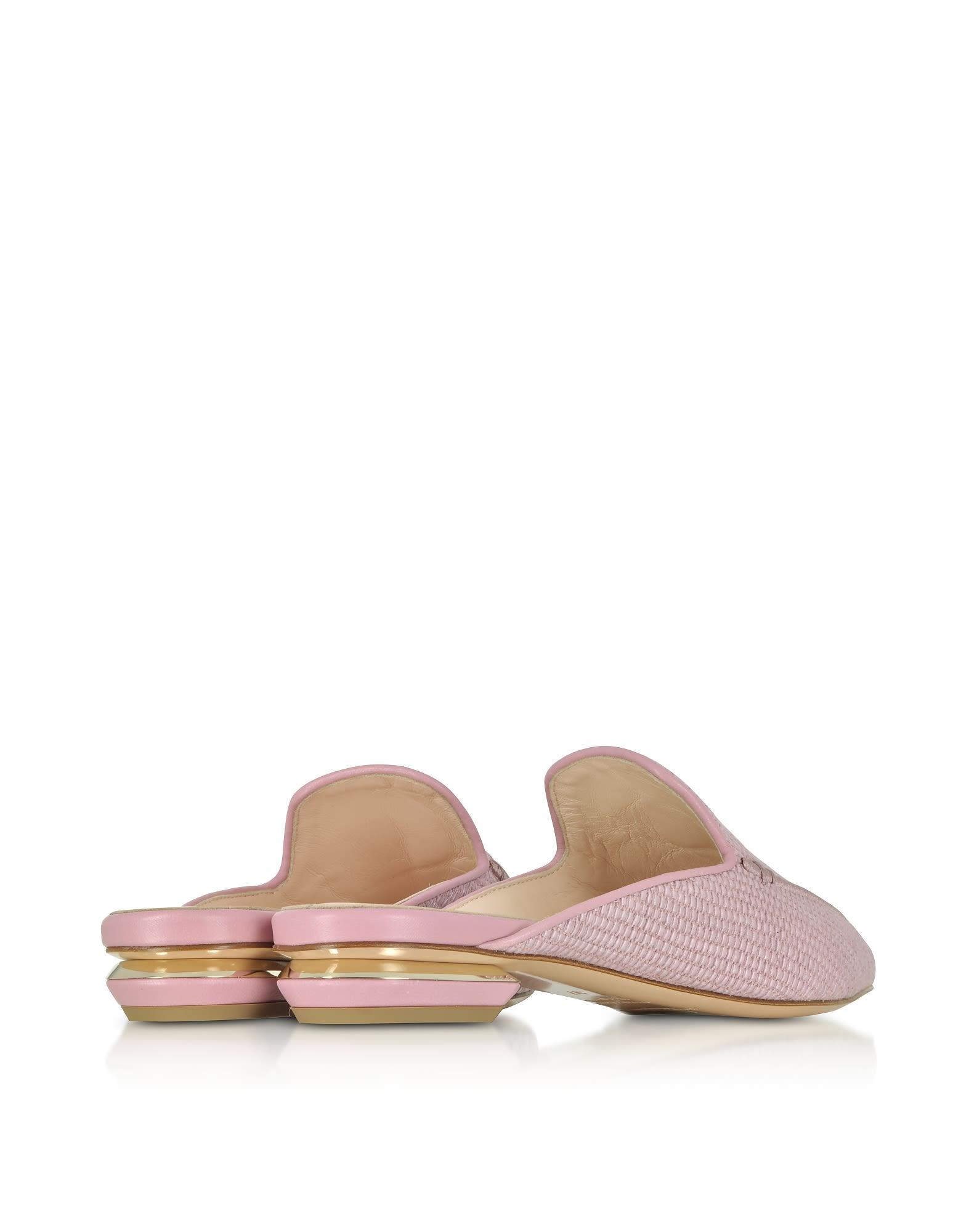 Nicholas Kirkwood Designer Shoes, Mauve Chunky Raffia 18mm Beya Flat Mules