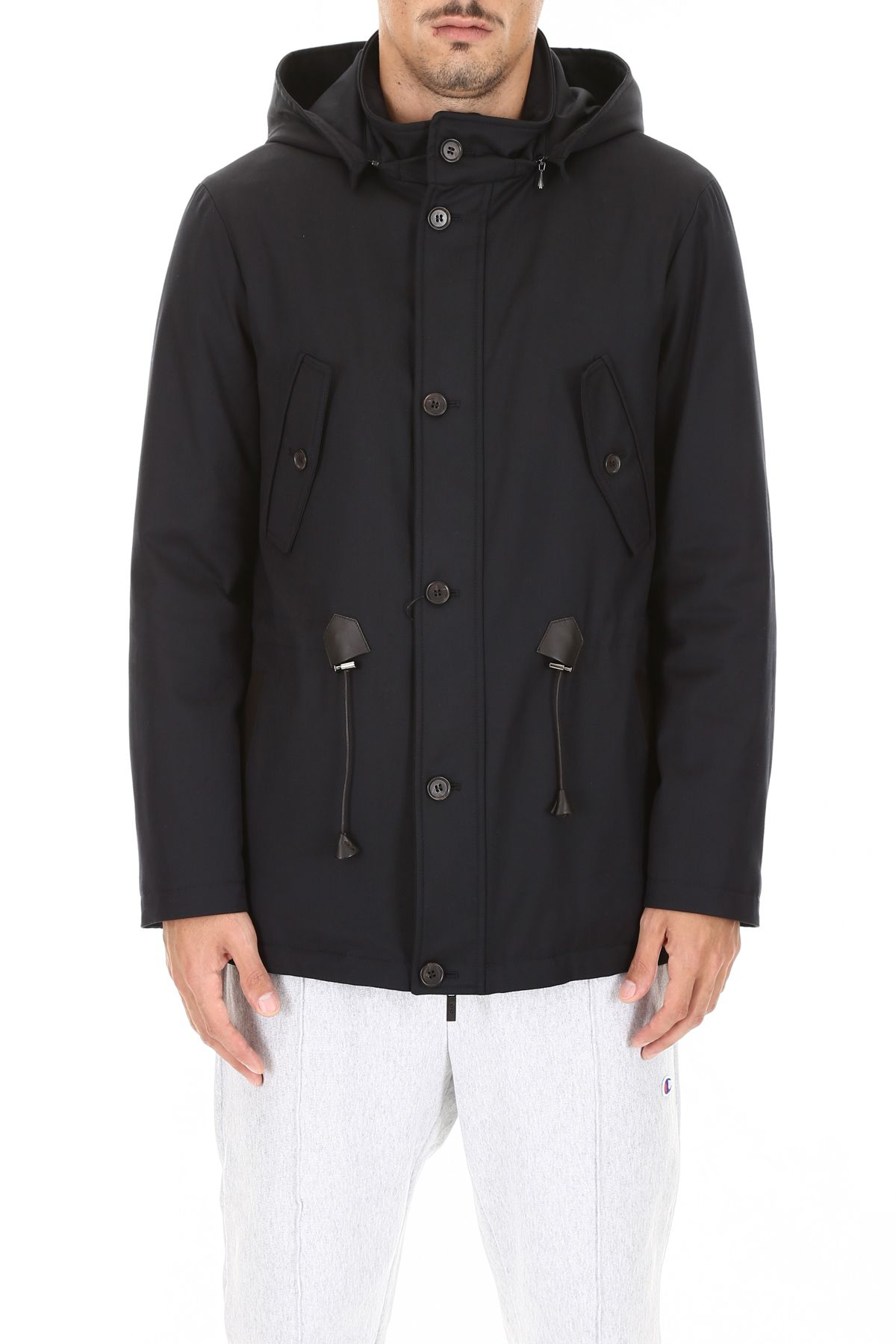CC COLLECTION CORNELIANI Parka With Leather Details in Navy