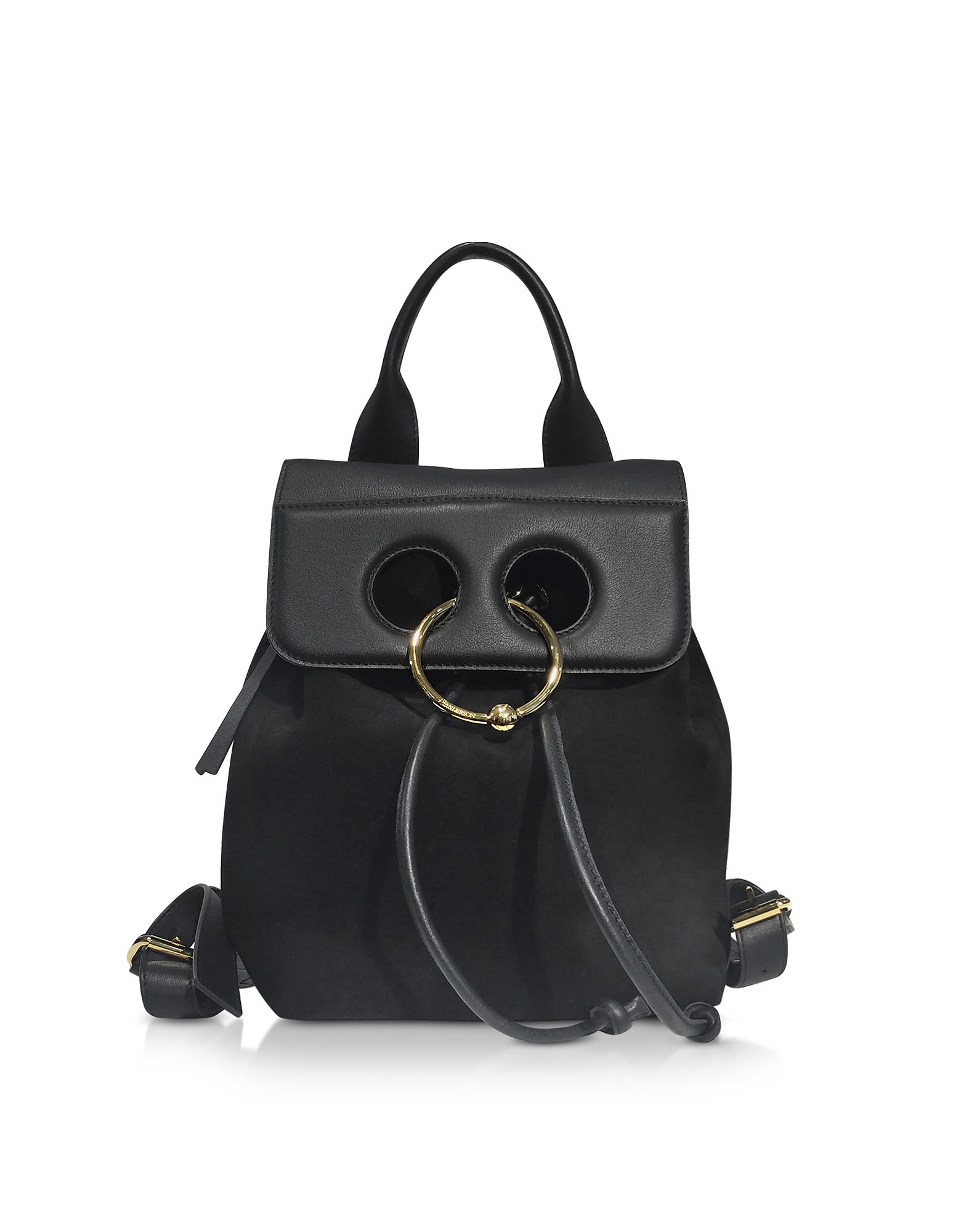J.W.ANDERSON JW ANDERSON BLACK SUEDE AND LEATHER MINI PIERCE BACKPACK