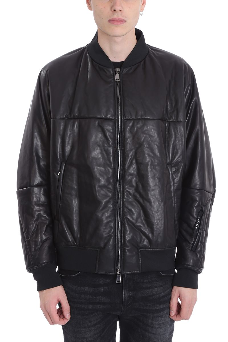 AHIRAIN Black Leather Bomber Jacket