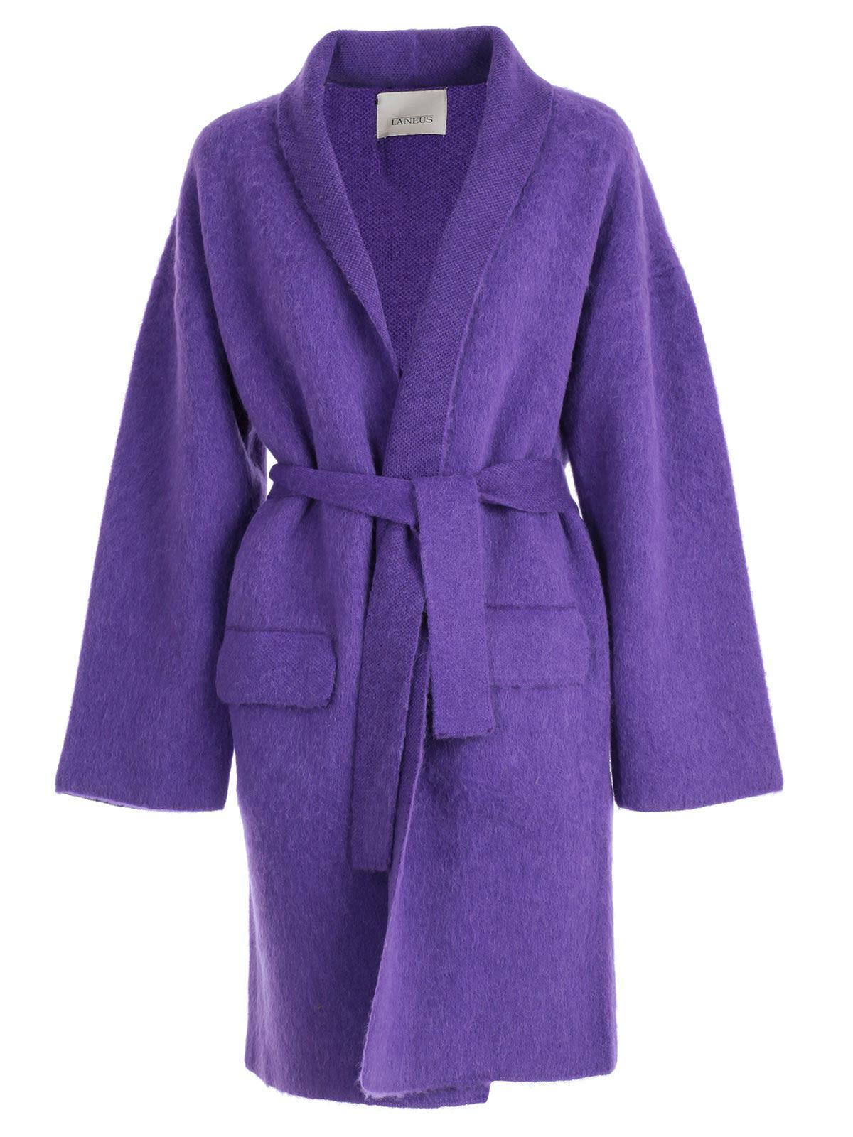 LANEUS Belted Cardigan Coat in Purple