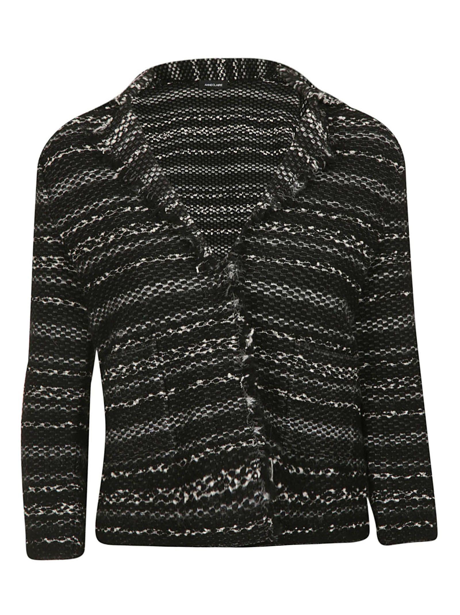 ANNECLAIRE Striped Sweater in Black