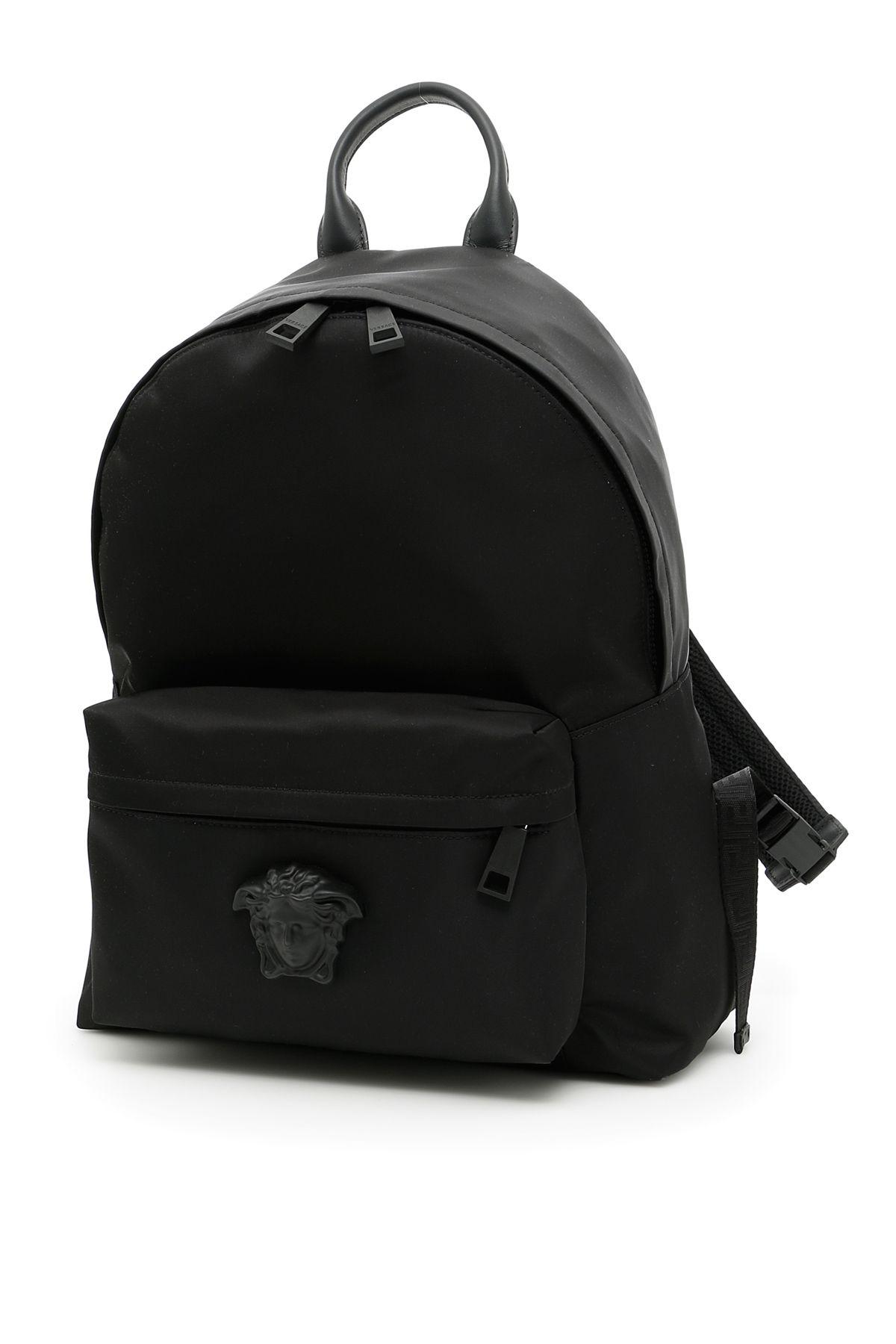 VERSACE Medusa Nylon & Leather Backpack, Nero+Neronero