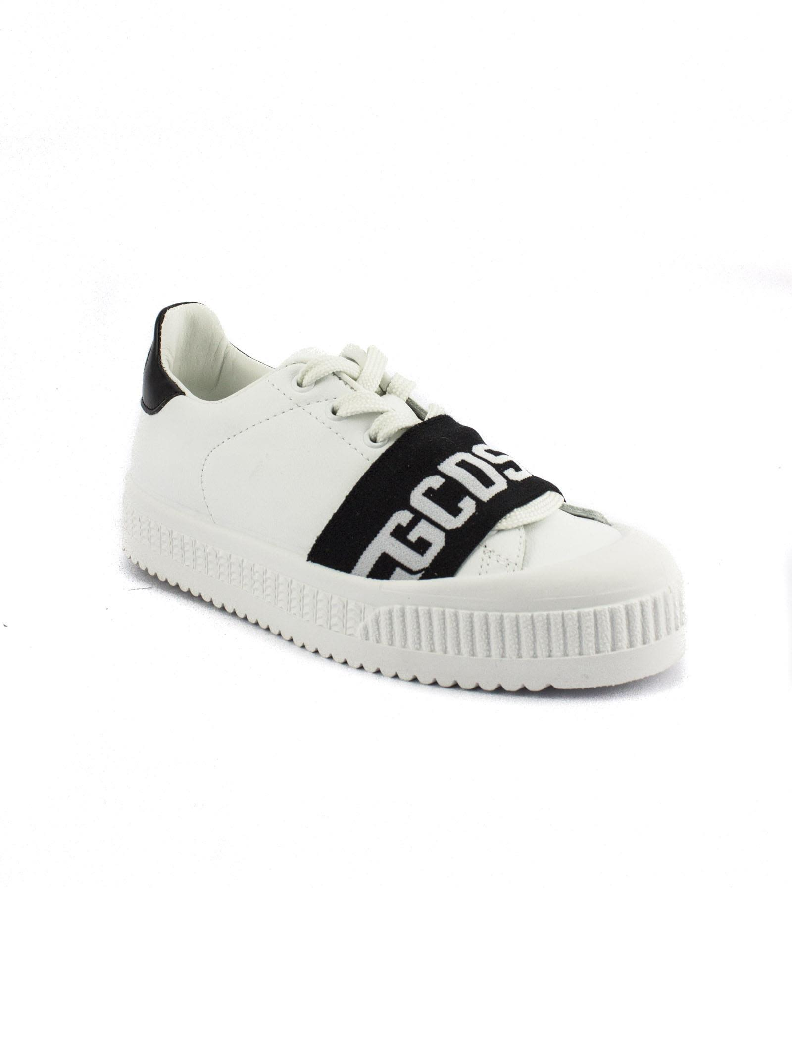 GCDS White Leather Sneaker With Black Elastic Logo Band. Cheap Top Quality For Sale Official Site Ost Release Dates Shopping Online For Sale Discount Low Shipping Fee 2DvwLxie23