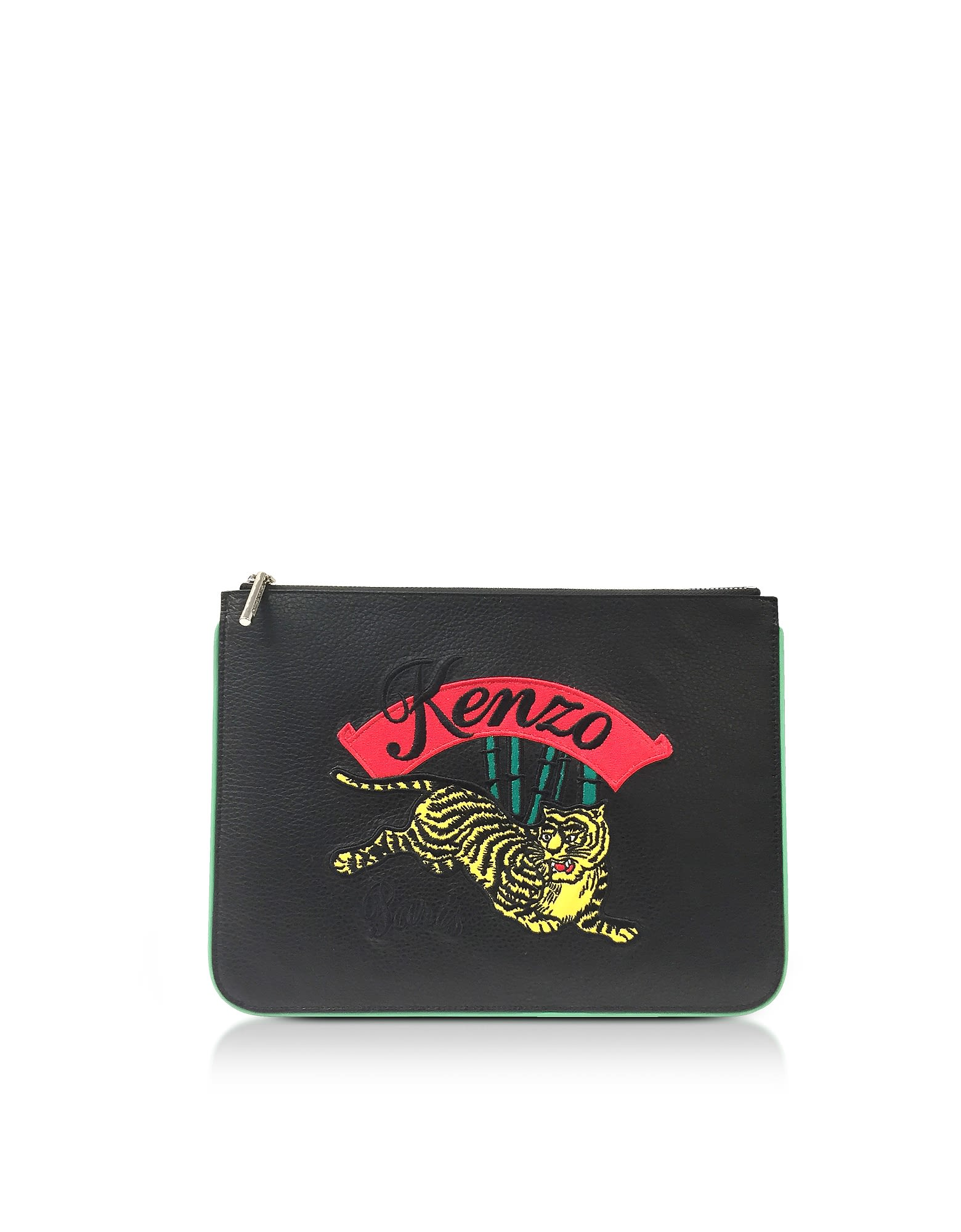 Leaping Tiger Leather A4 Pouch - Black