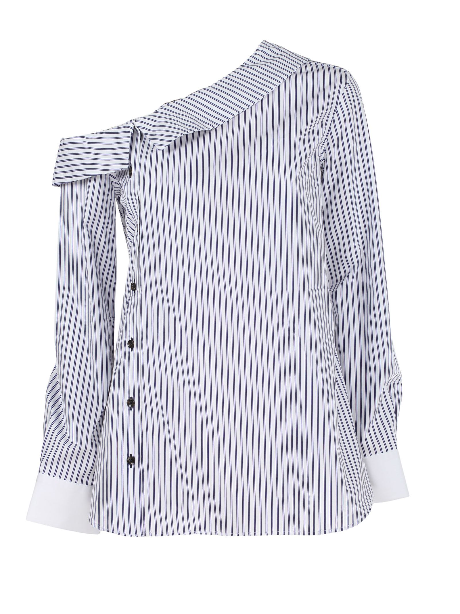 MONOGRAPHIE One Shoulder Shirt in Blue & White Stripes