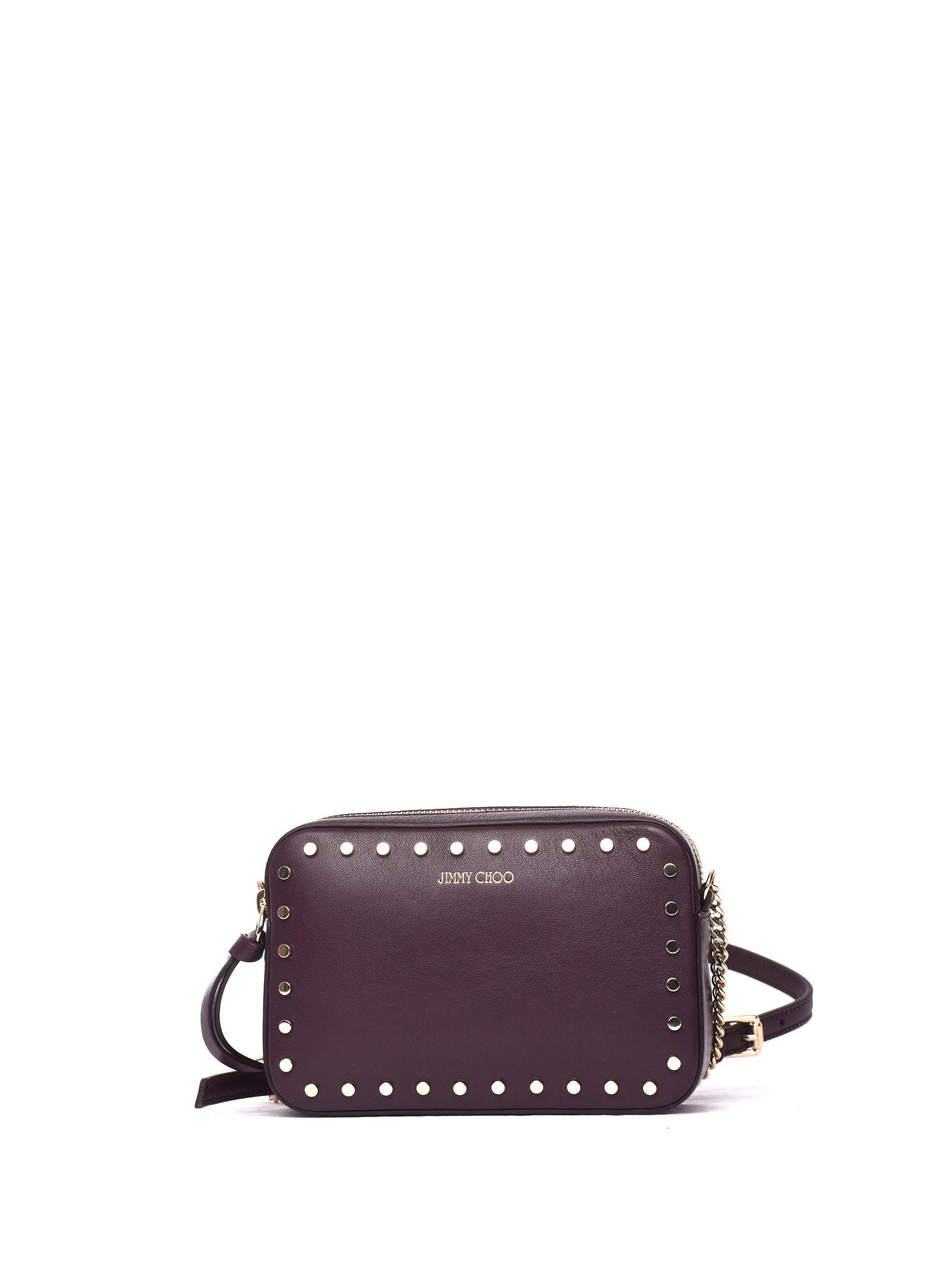 Quinn Cross Body Bag In Burgundy Leather And Studs
