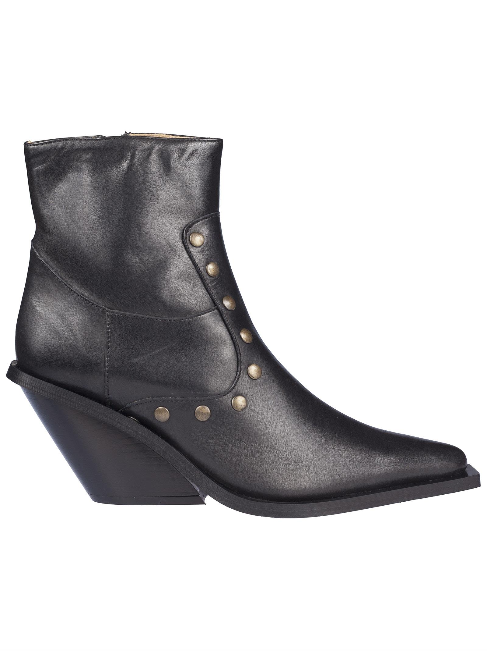 Gia Couture Studded Ankle Boots - Black