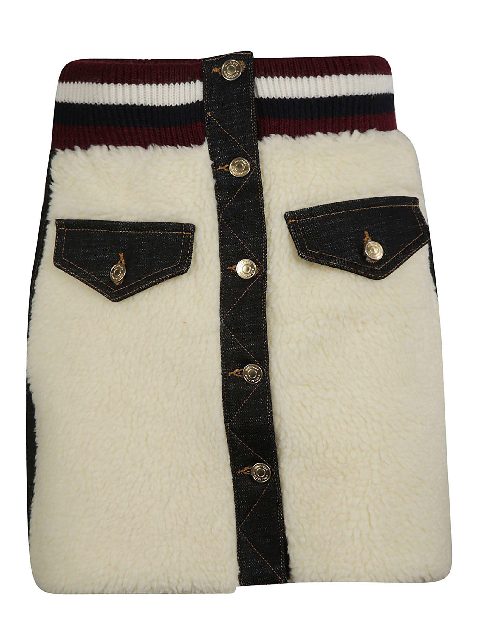 Teddy Fur Mini Skirt, Egret