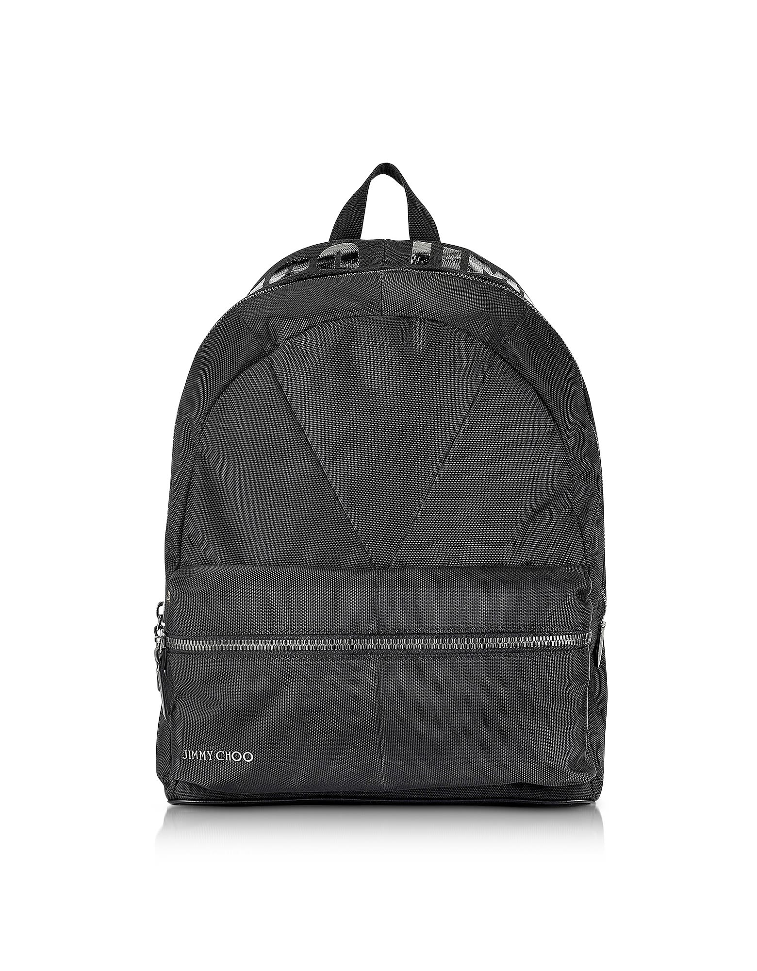 BLACK CANVAS AND WOVEN NYLON BACKPACK