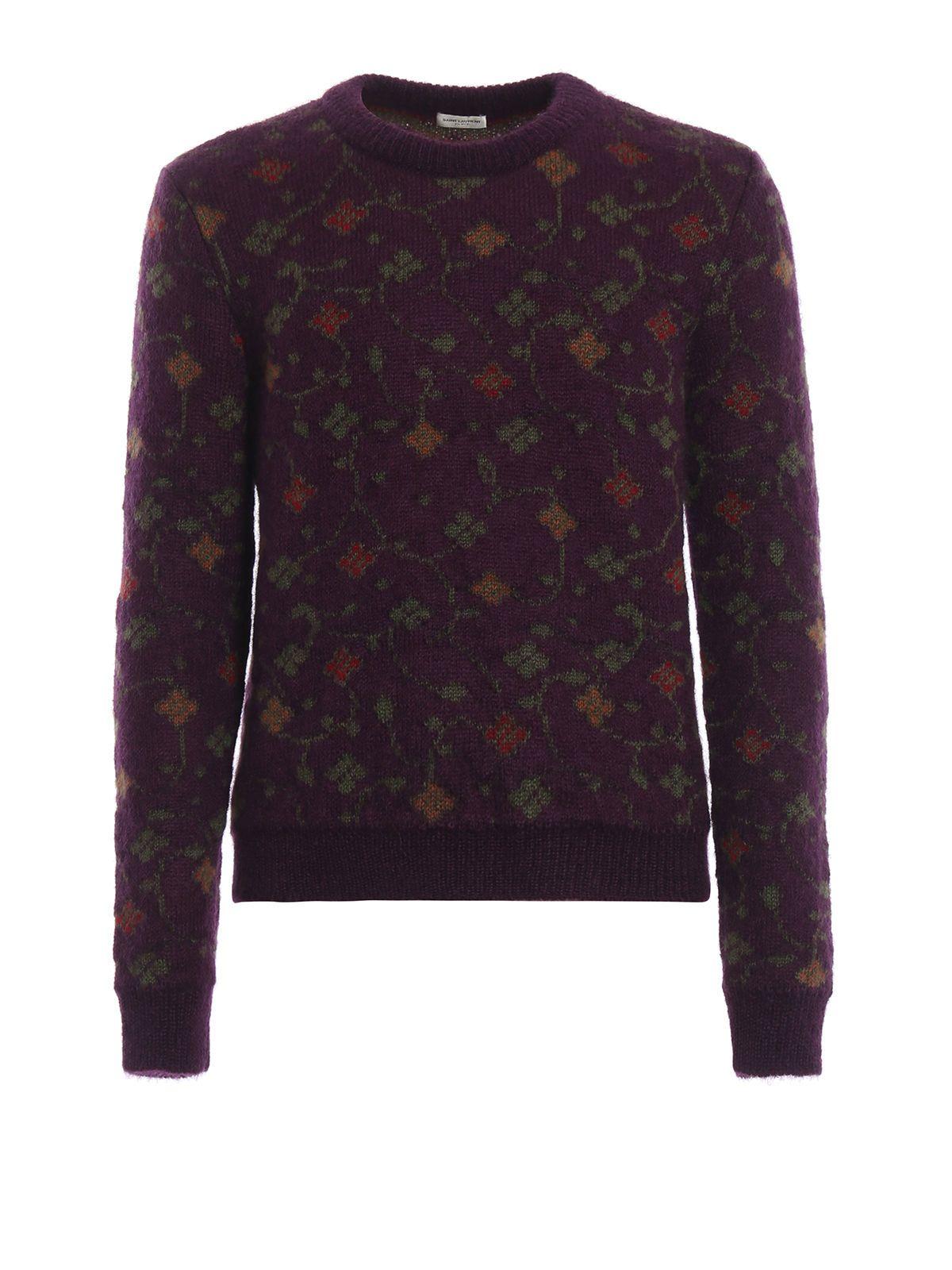 Saint Laurent Floral Intarsia Sweater