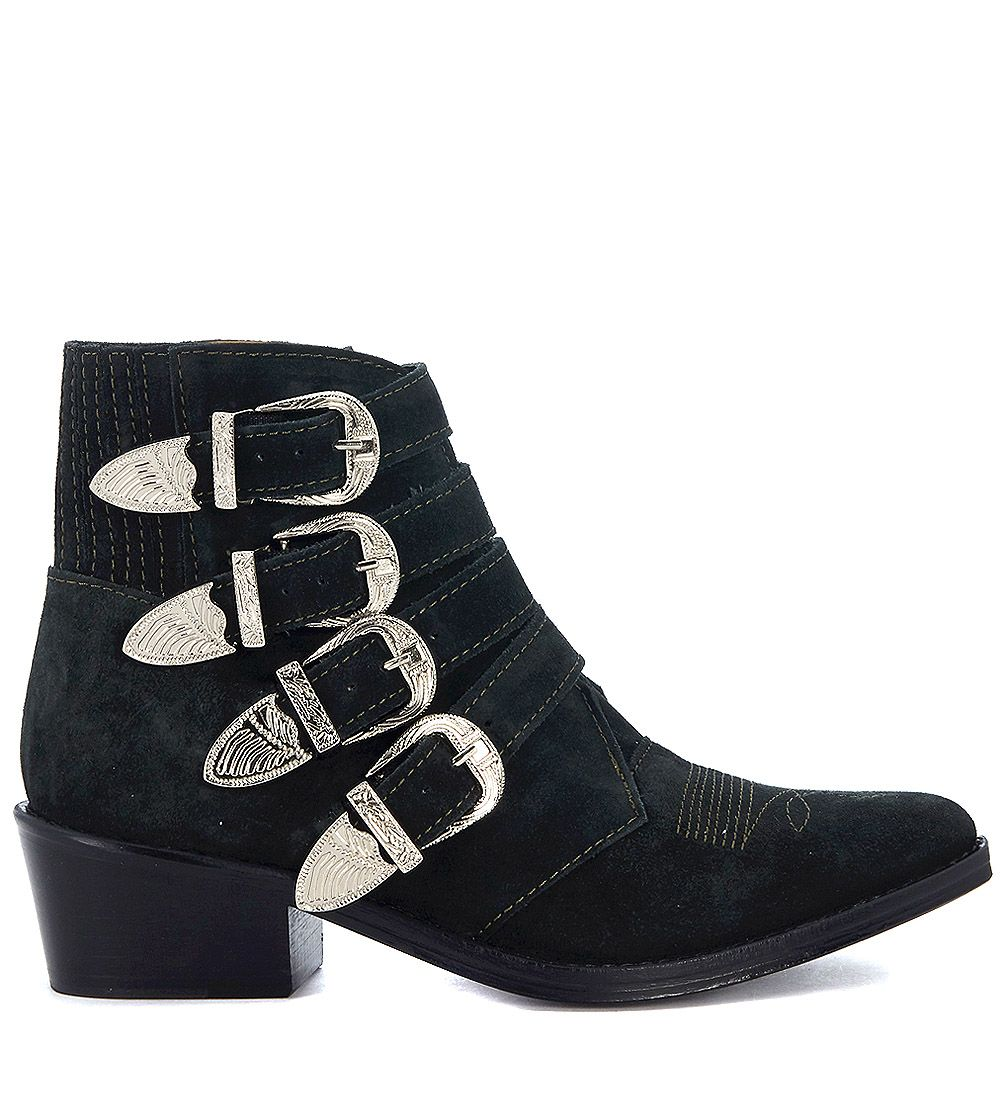 TOGA PULLA Dark suede Texan with buckles women's Low Boots in 2018 New Sale Online Outlet Fashion Style Discount High Quality Low Price Fee Shipping For Sale 100% Guaranteed Online VRCe0IsbJc