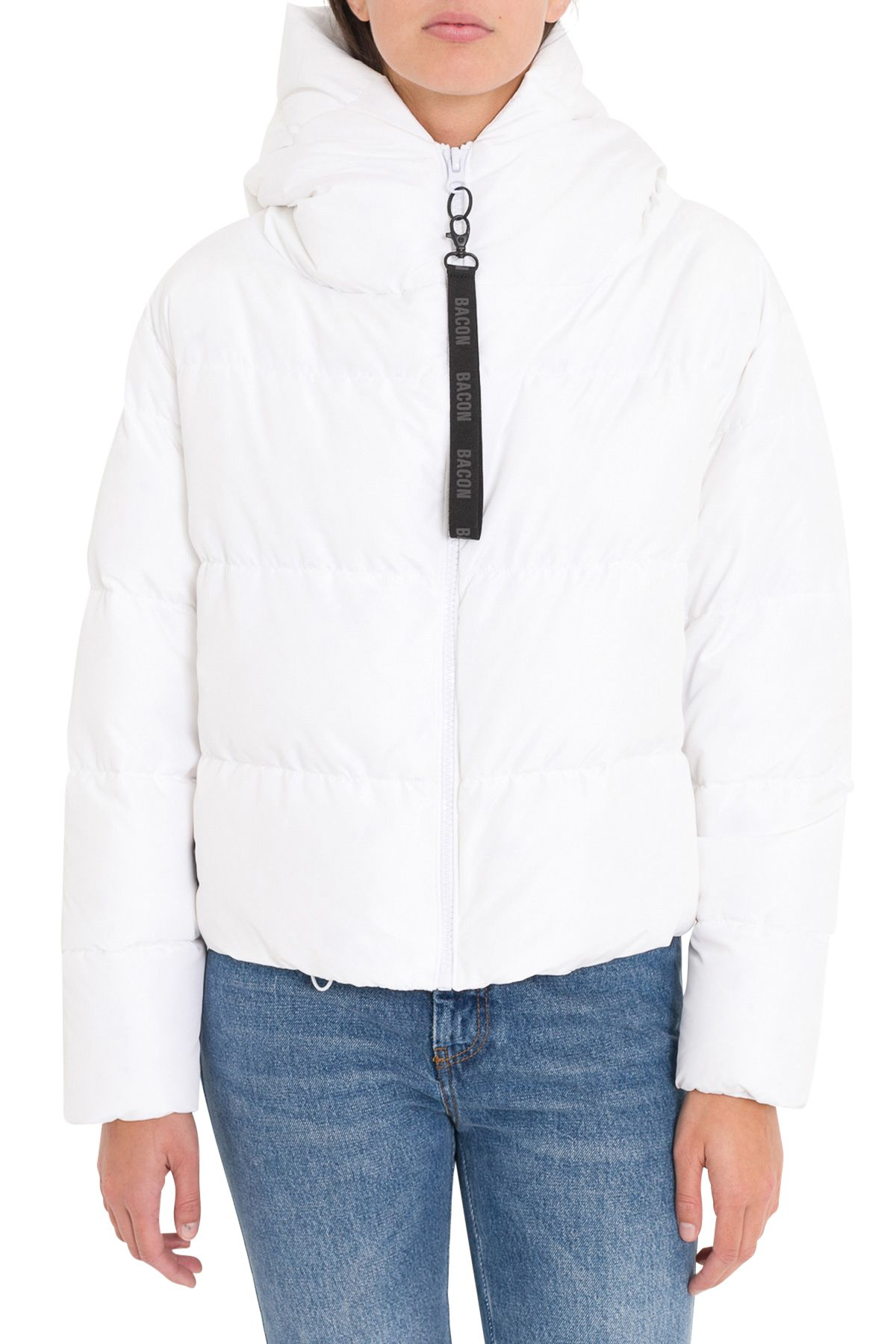 BACON CLOTHING Short Down Jacket With Hood in Bianco