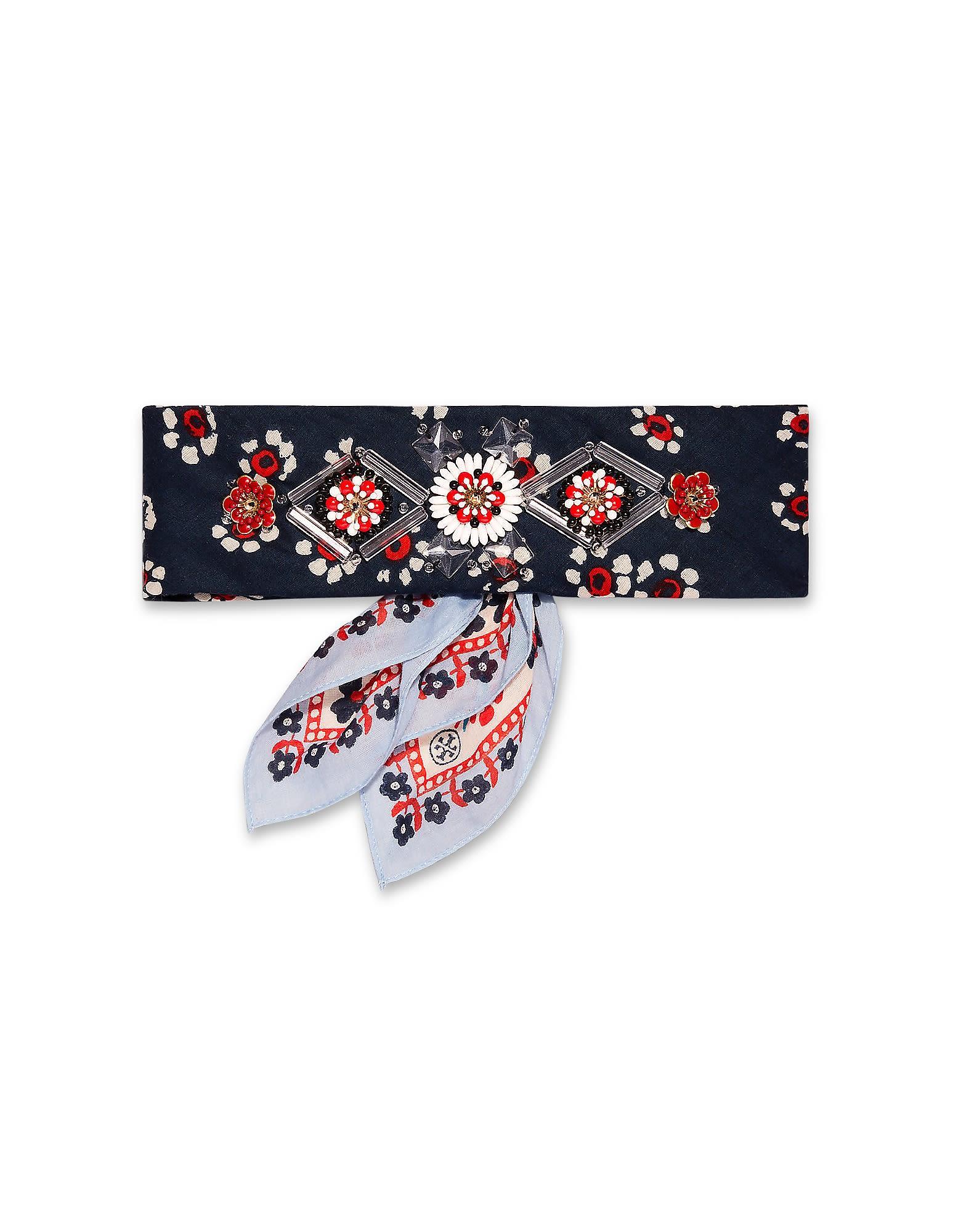 Tory Burch Floral Print Embellished Cotton Bandana Necktie