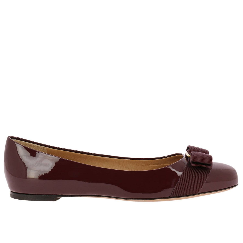 6603007ff3c Salvatore Ferragamo Ballet Flats Shoes Women In Burgundy ...