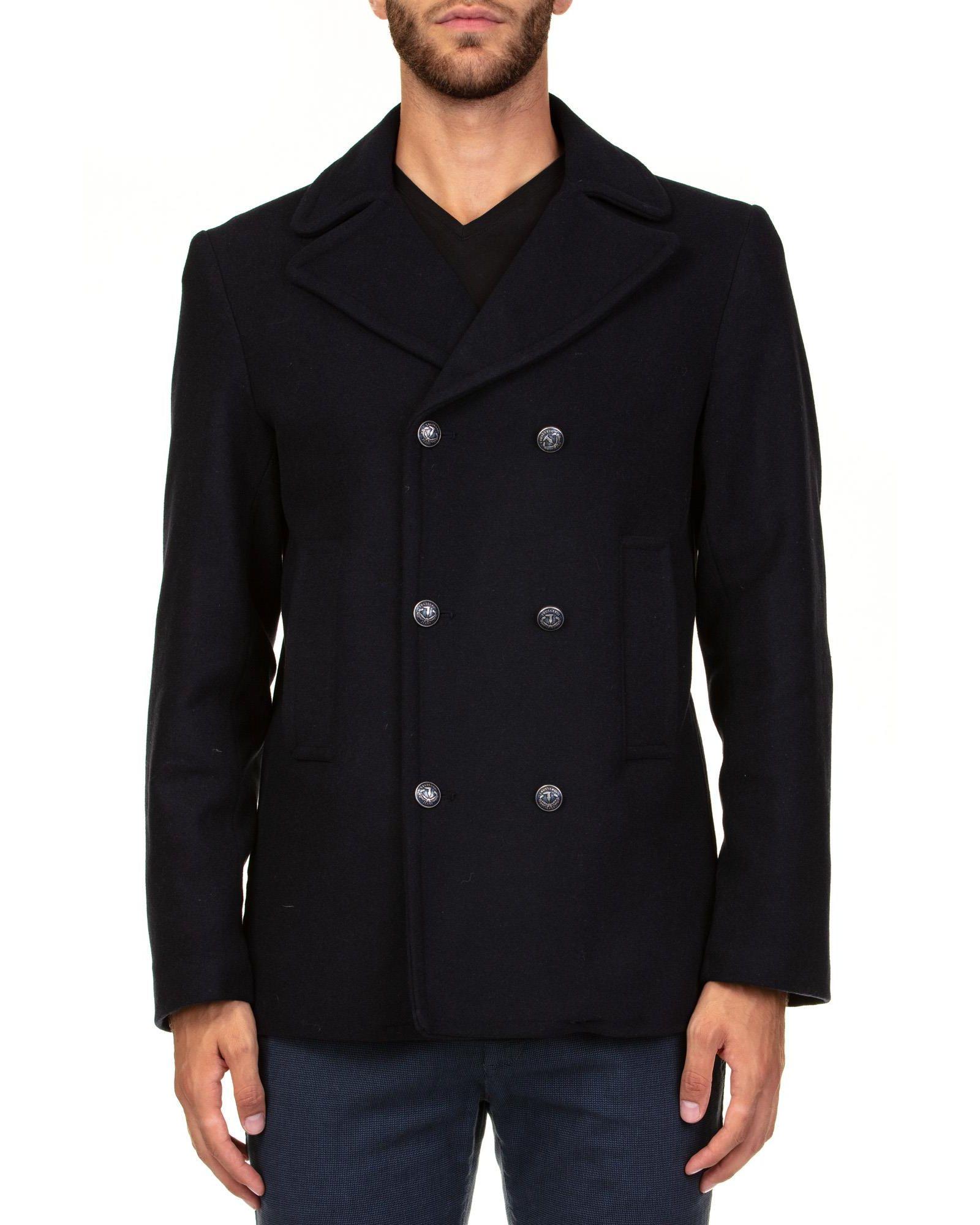 TRUSSARDI Wool Blend Coat in Blue