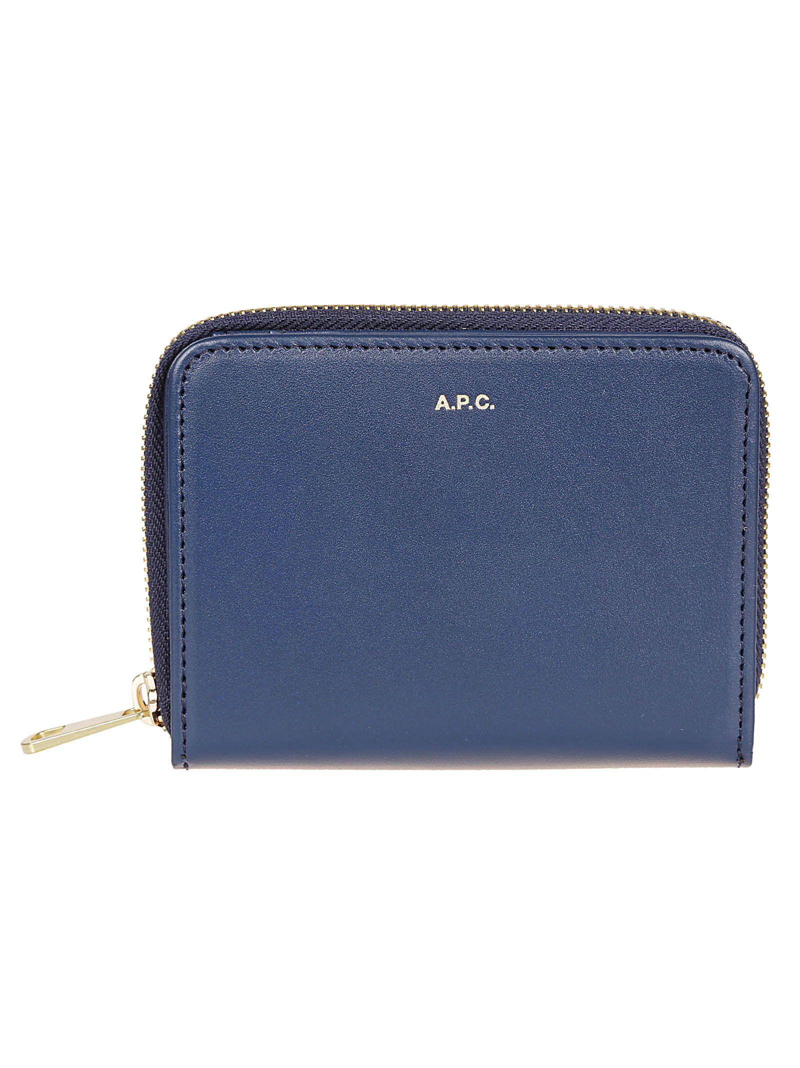 A.P.C. All Around Zip Wallet, Marine