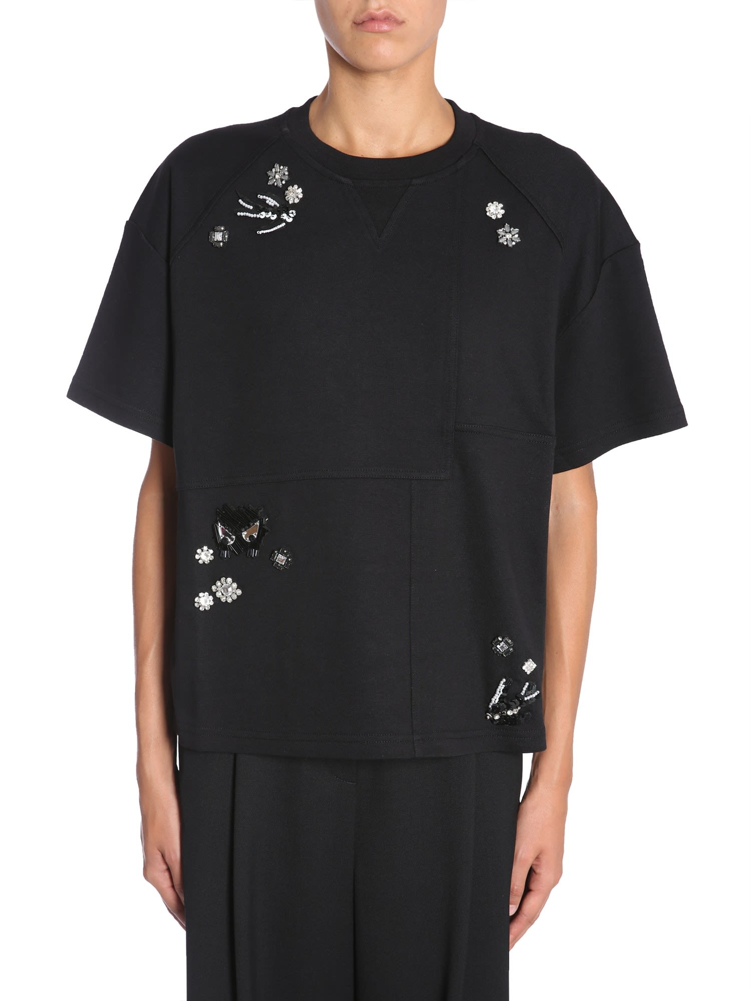 Mcq Alexander Mcqueen Diamante Deco Swallow T-Shirt - Black