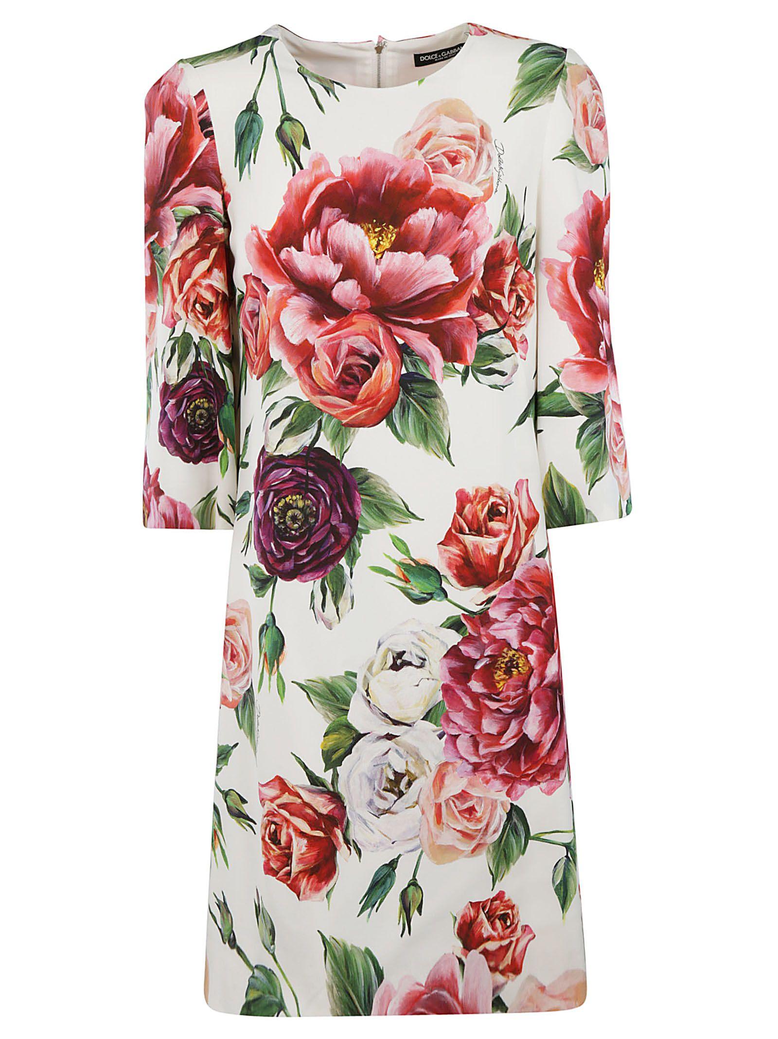 Dolce & Gabbana Silk Rose Print Dress