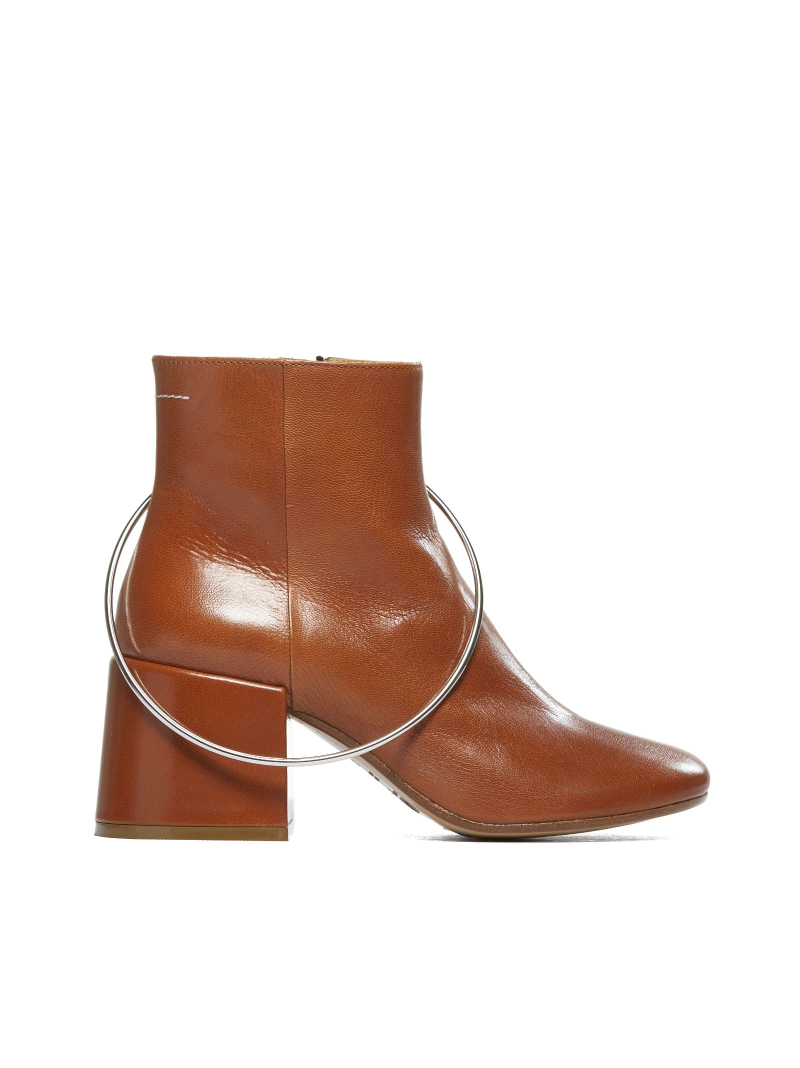 Mm6 Maison Margiela Oversized Ring Ankle Boots in Cuoio