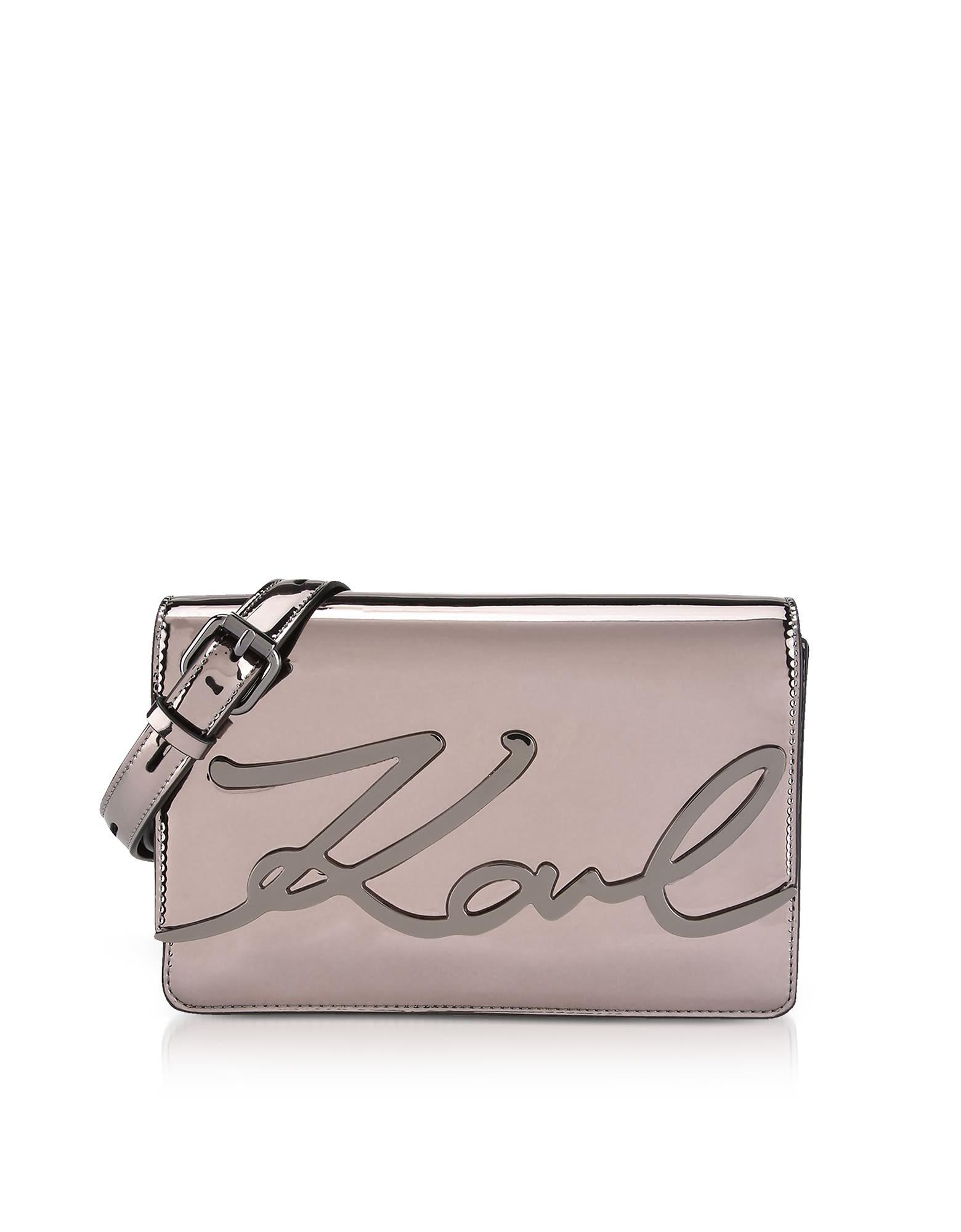 Karl Lagerfeld K / Brillant Sac À Bandoulière En Cuir Signature Bronze Éco Sast Pas Cher En Ligne ur2rOj