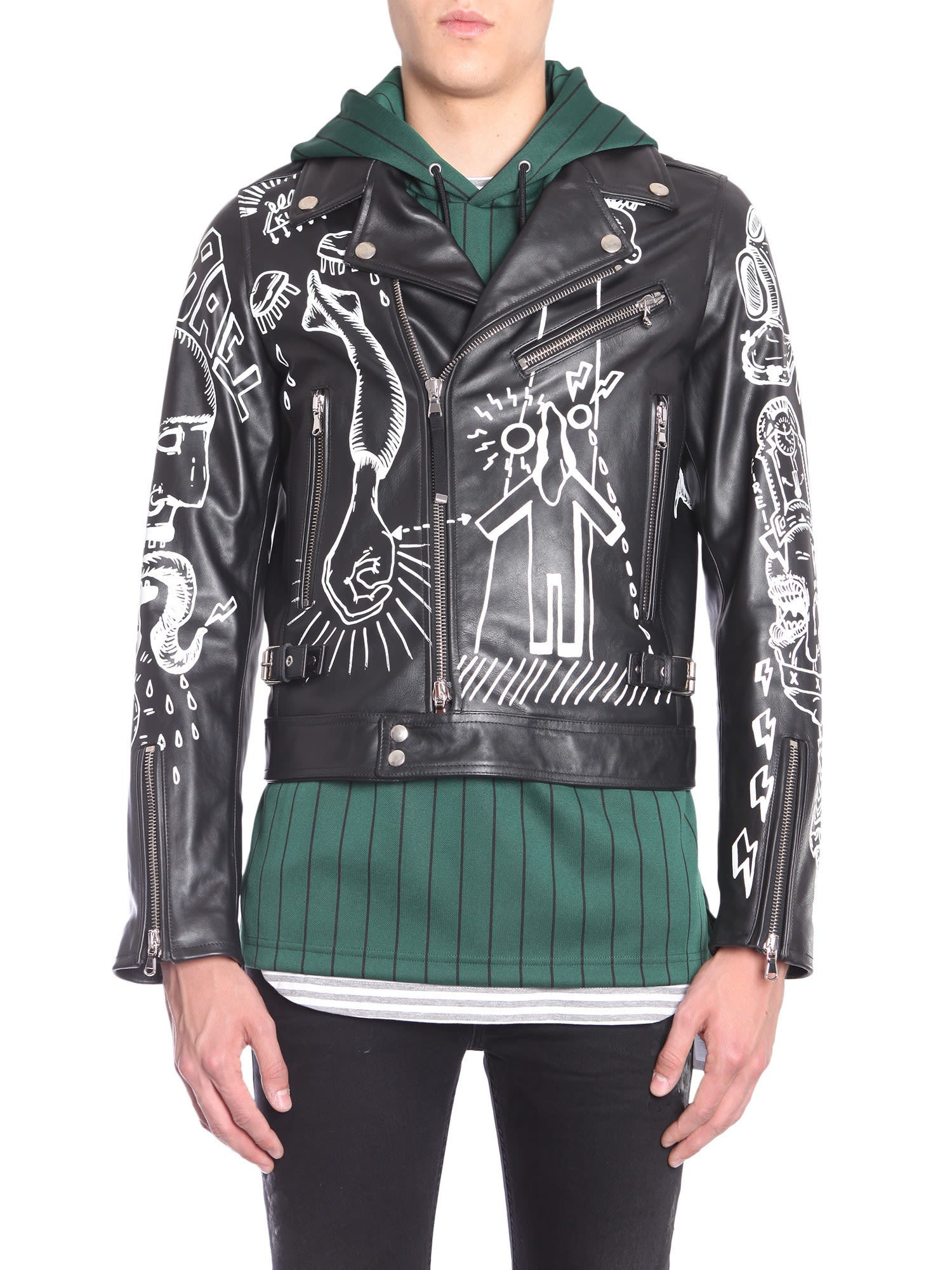 DIESEL BLACK GOLD Black Leather Jacket With Graffiti Print