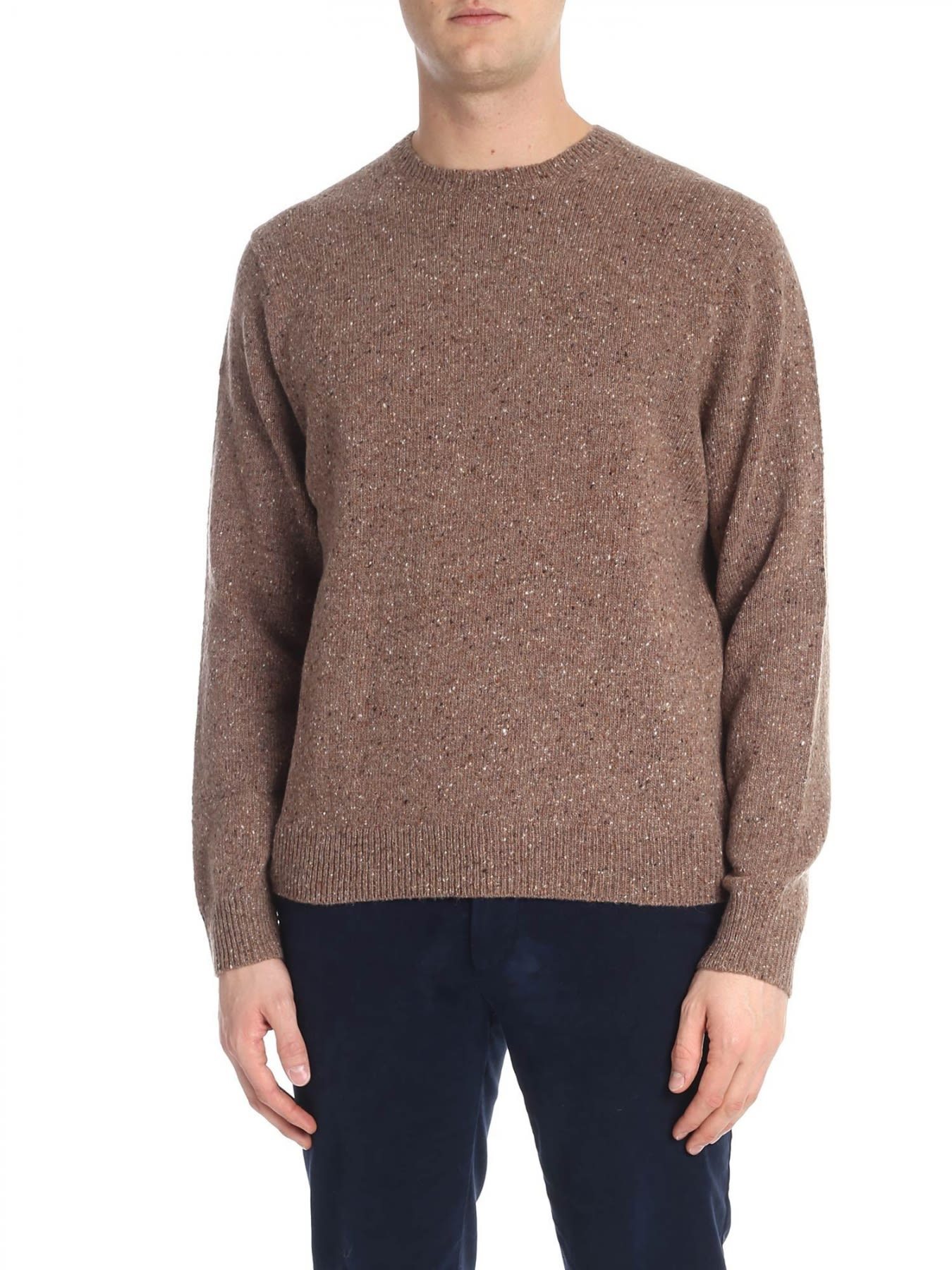 BROOKS BROTHERS Round Neck Wool in Brown