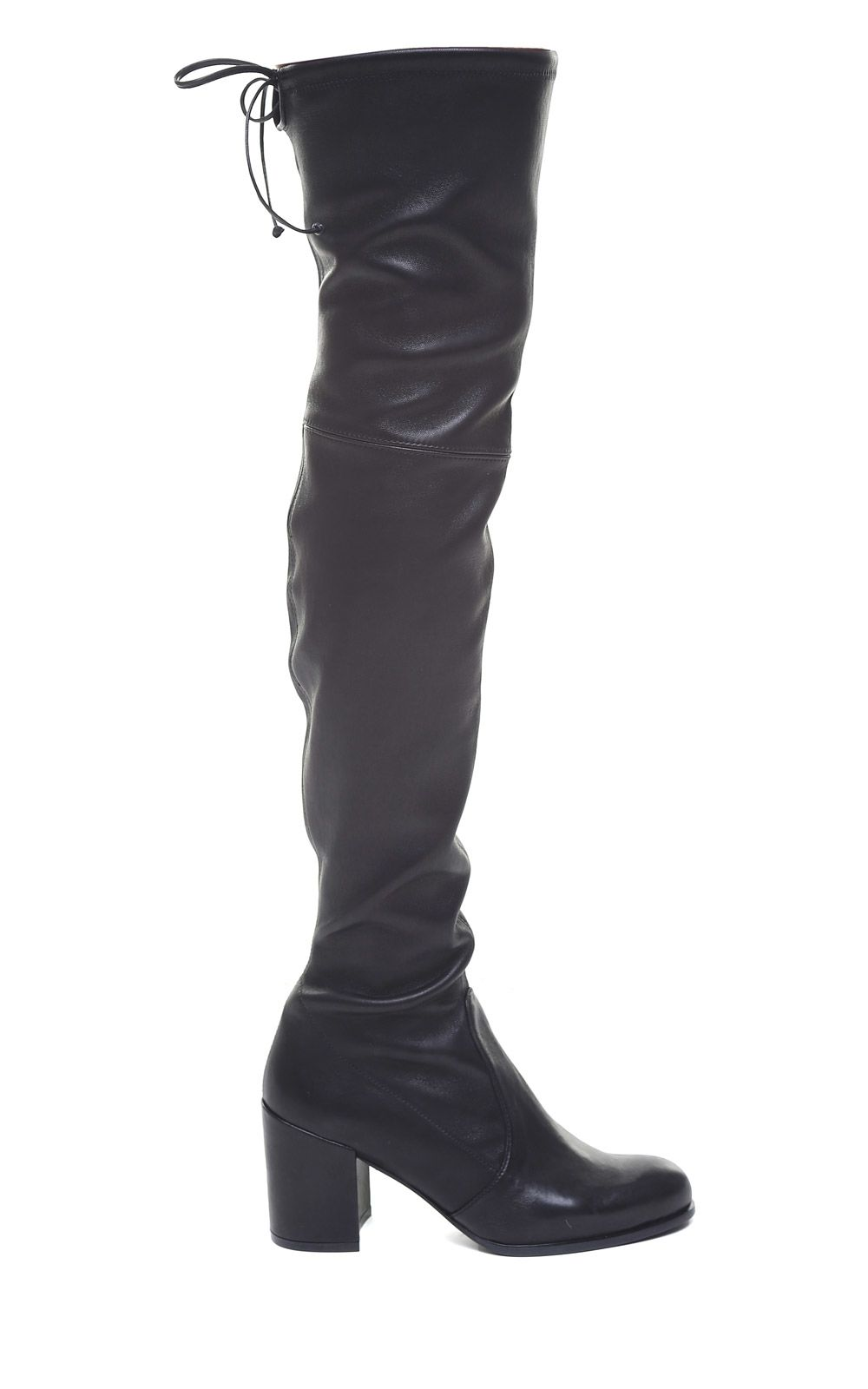 Tieland Stretch-Leather Over-The-Knee Boots in Nero