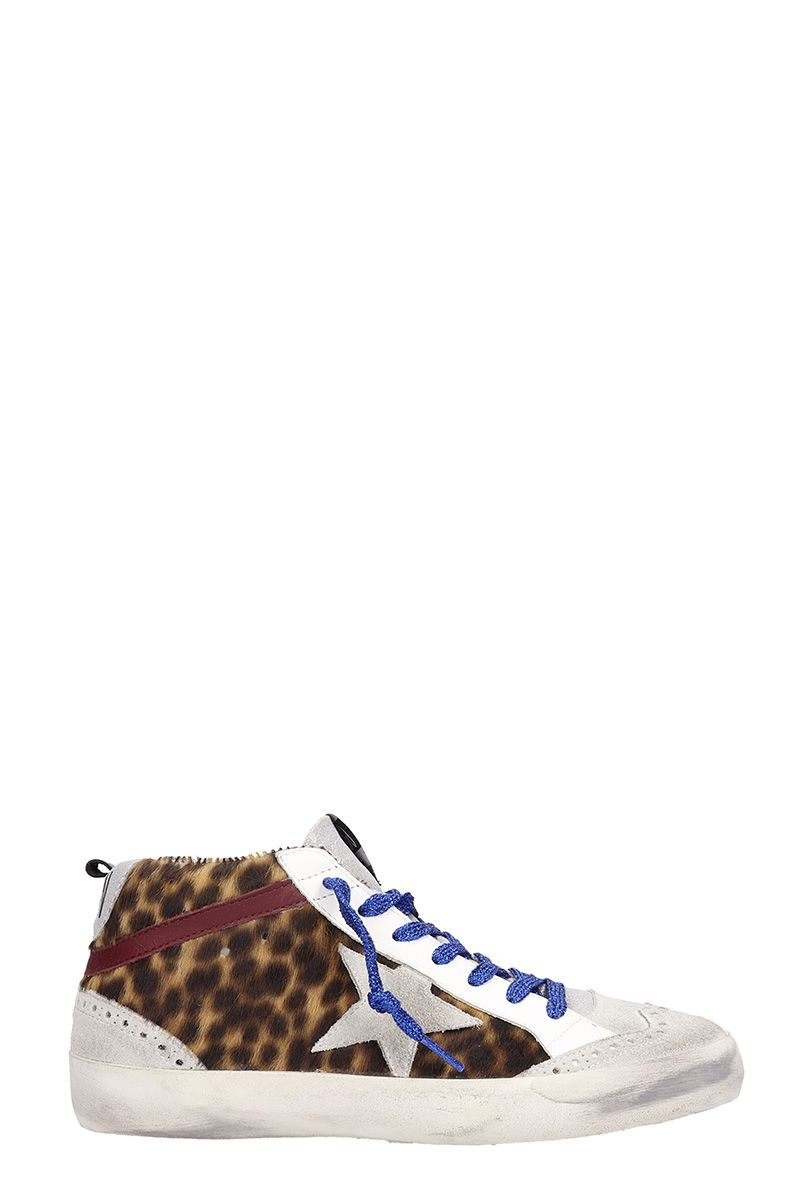 MID STAR SILVER ANIMALIER LEATHER SNEAKERS