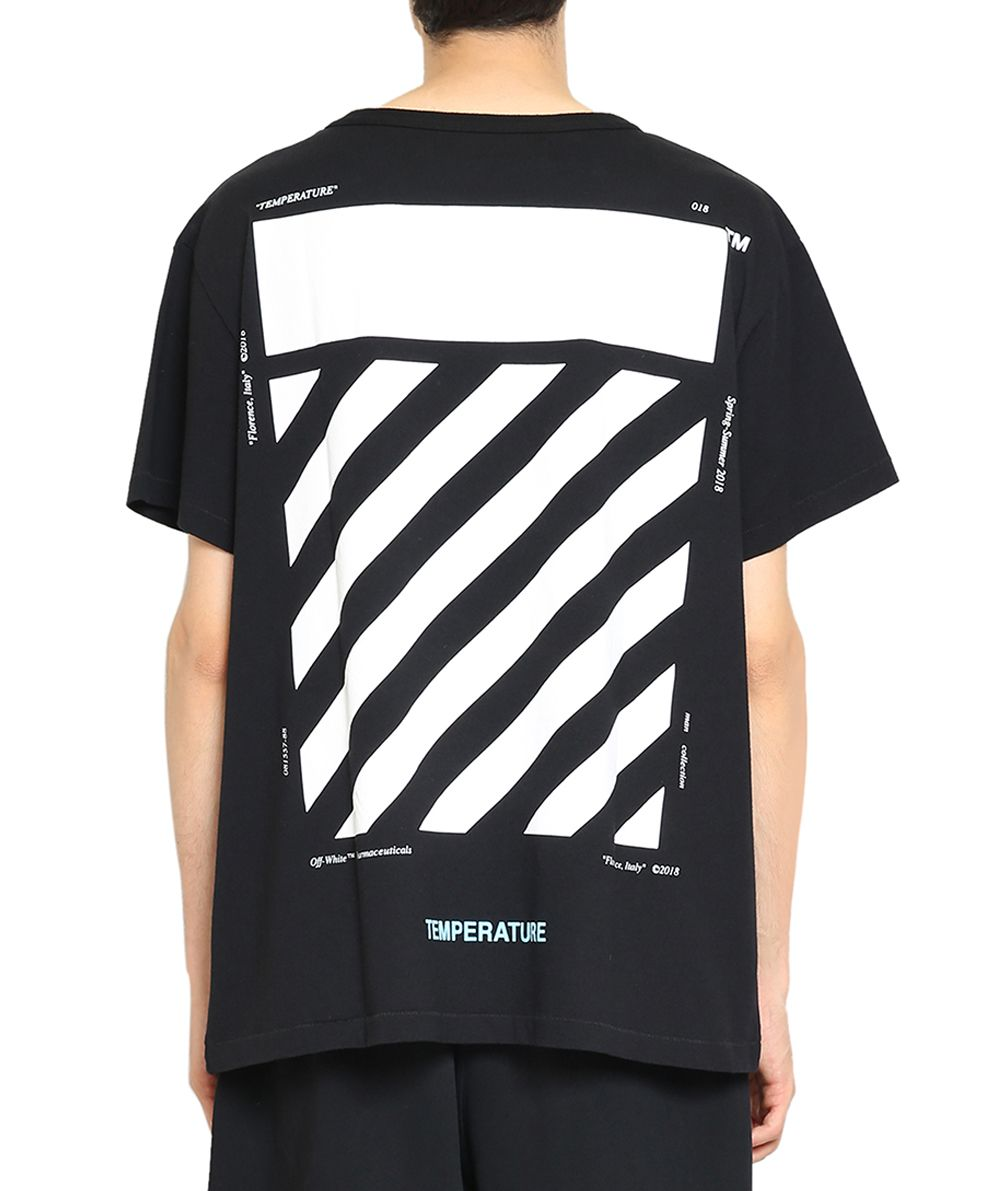 Off White Off White Diagonal Temperature Cotton T Shirt