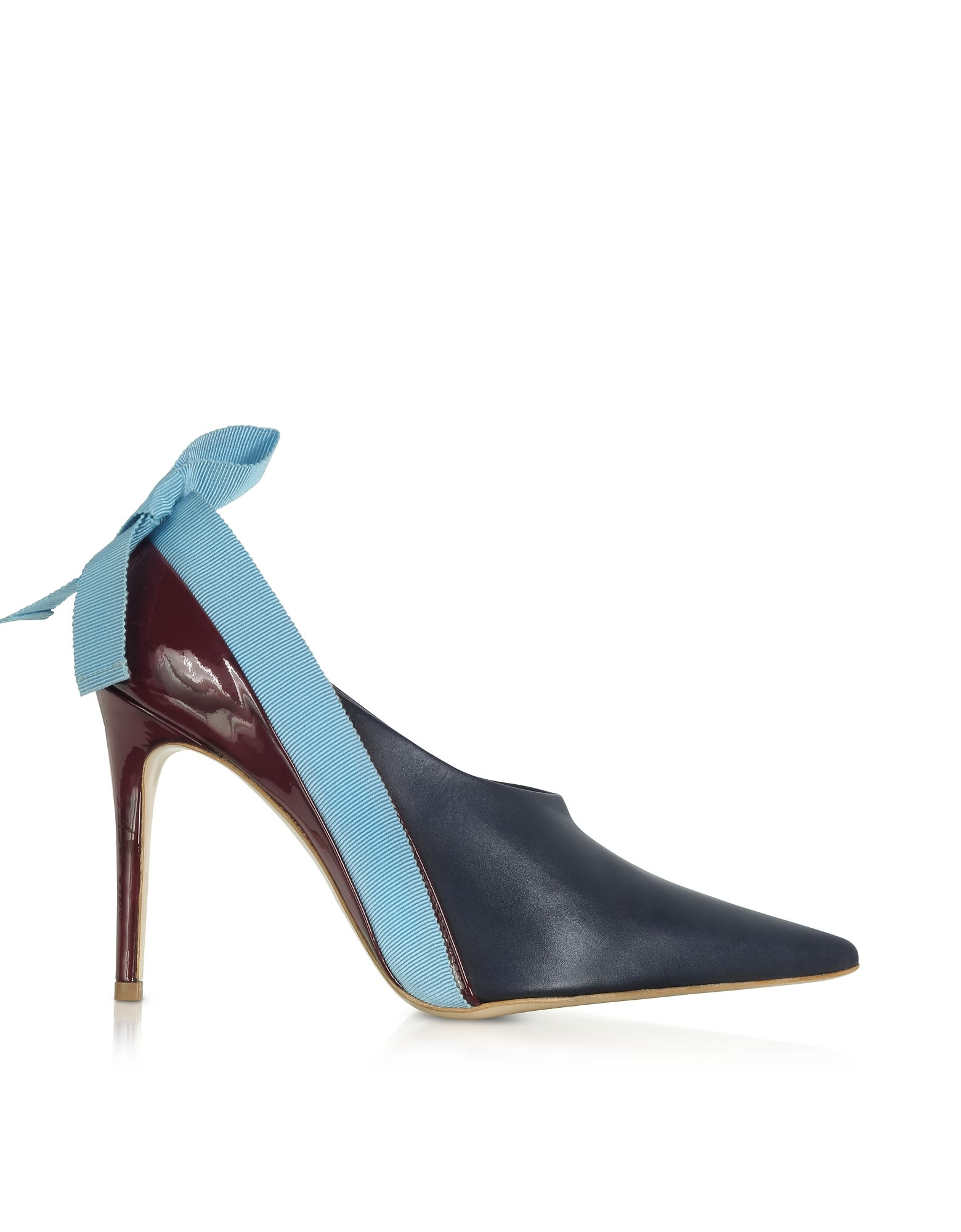Delpozo MARINE LIGHT BLUE AND BURGUNDY PATENT LEATHER BOOTIES