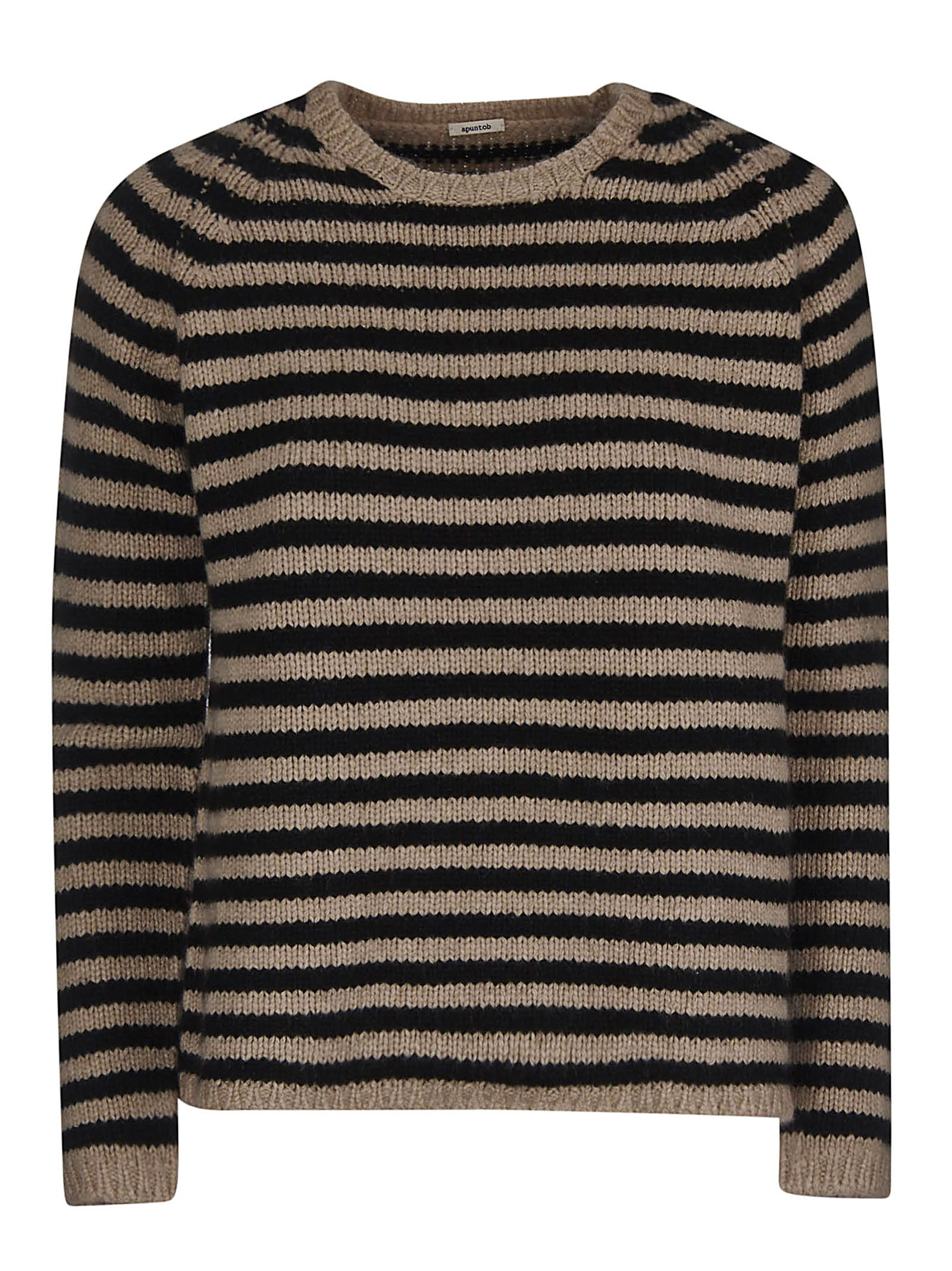 A PUNTO B A.B Stripe Knitted Sweater in Natural/Black