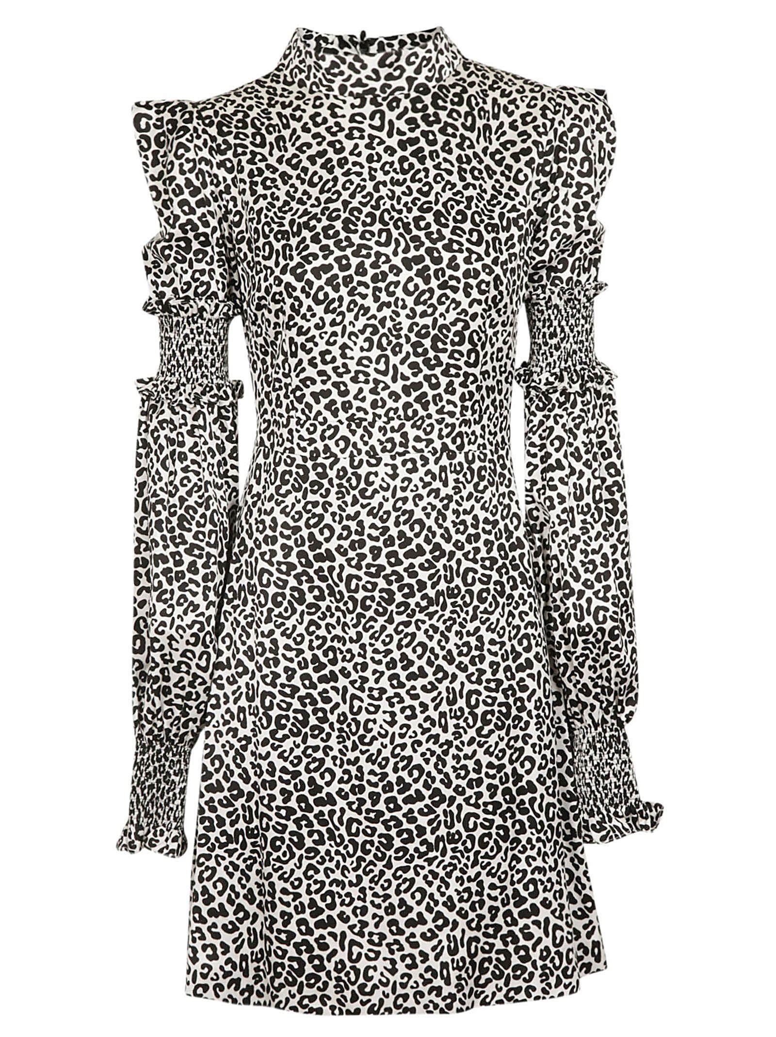 WANDERING Wandering Leopard Print Ruffle Sleeves Dress in Bianco/Nero