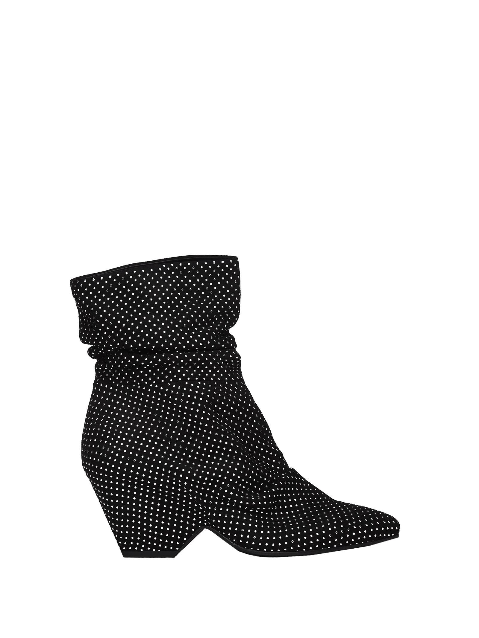 Vic Matie BLACK ANKLE BOOTS WITH SHELL-SHAPED HEEL AND STUDS