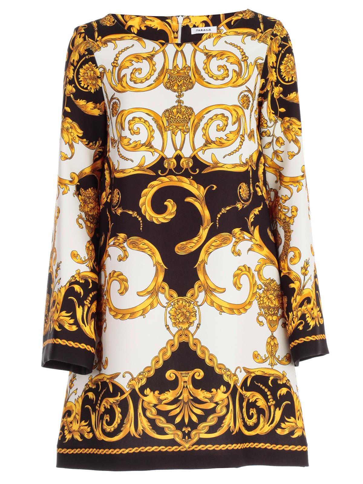5983a7ed Parosh P.A.R.O.S.H. Baroque Print Dress In Fant Blk   ModeSens