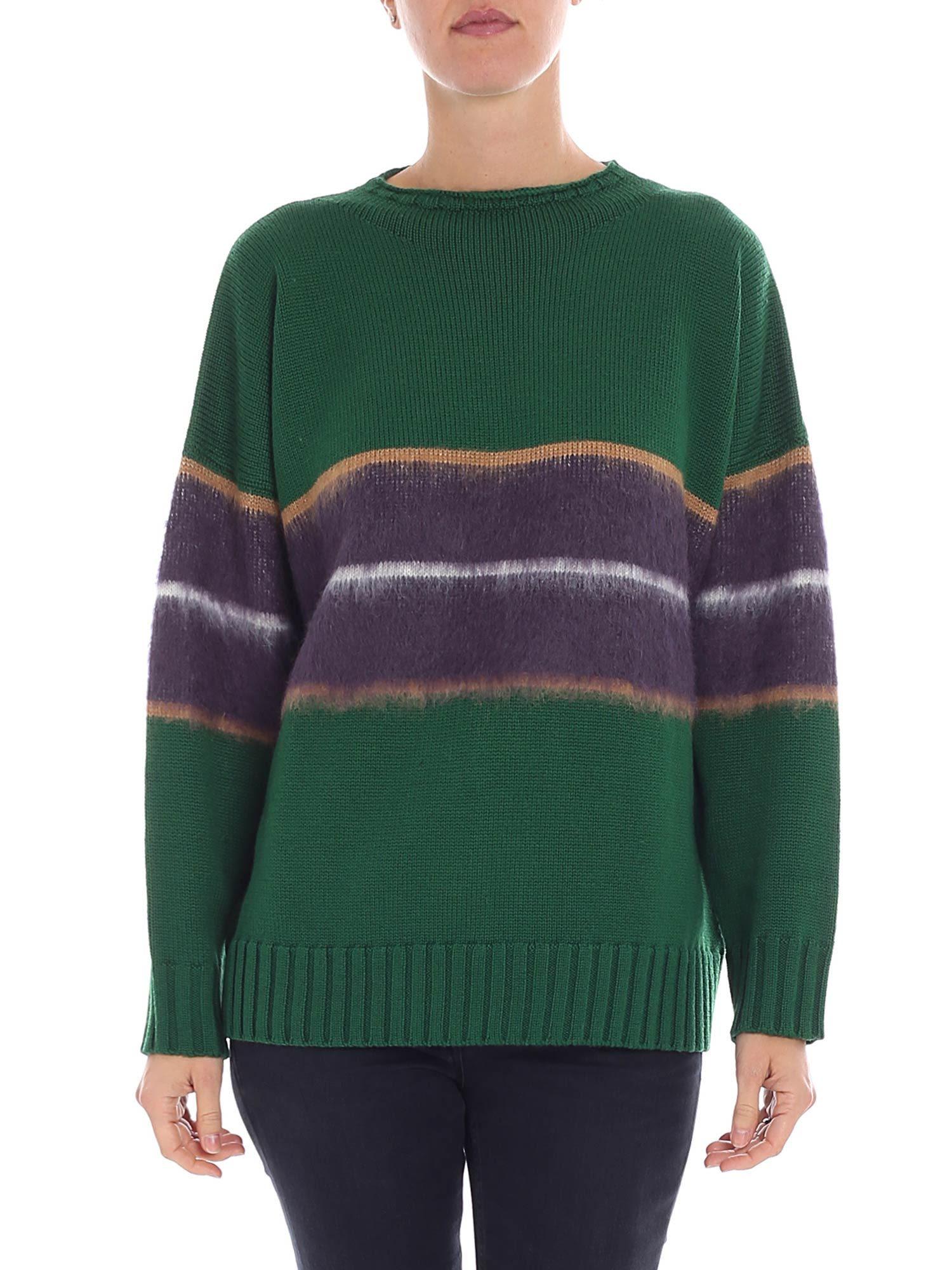 ALTEA Striped Knit Sweater in Green