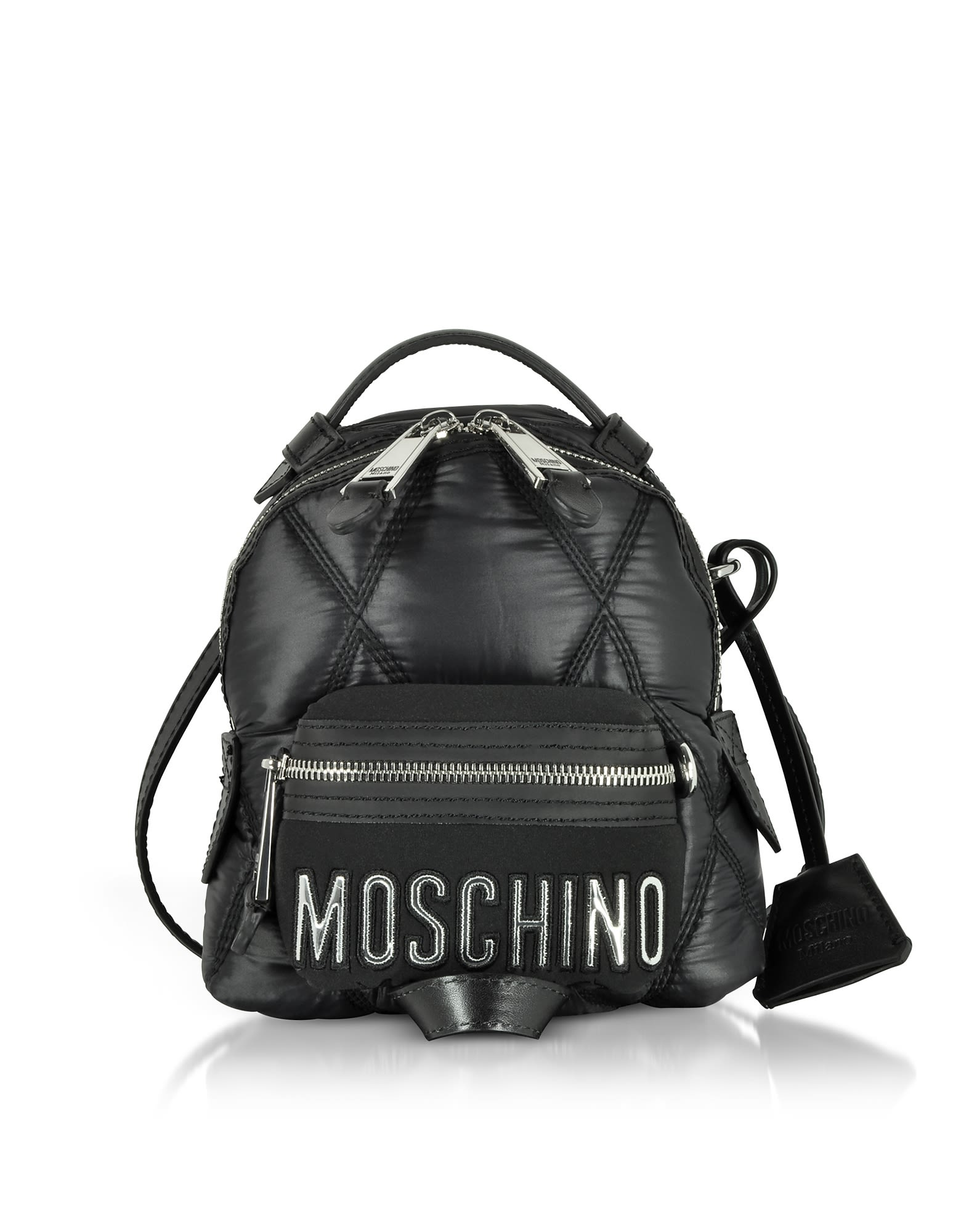moschino -  Black Quilted Nylon Mini Backpack