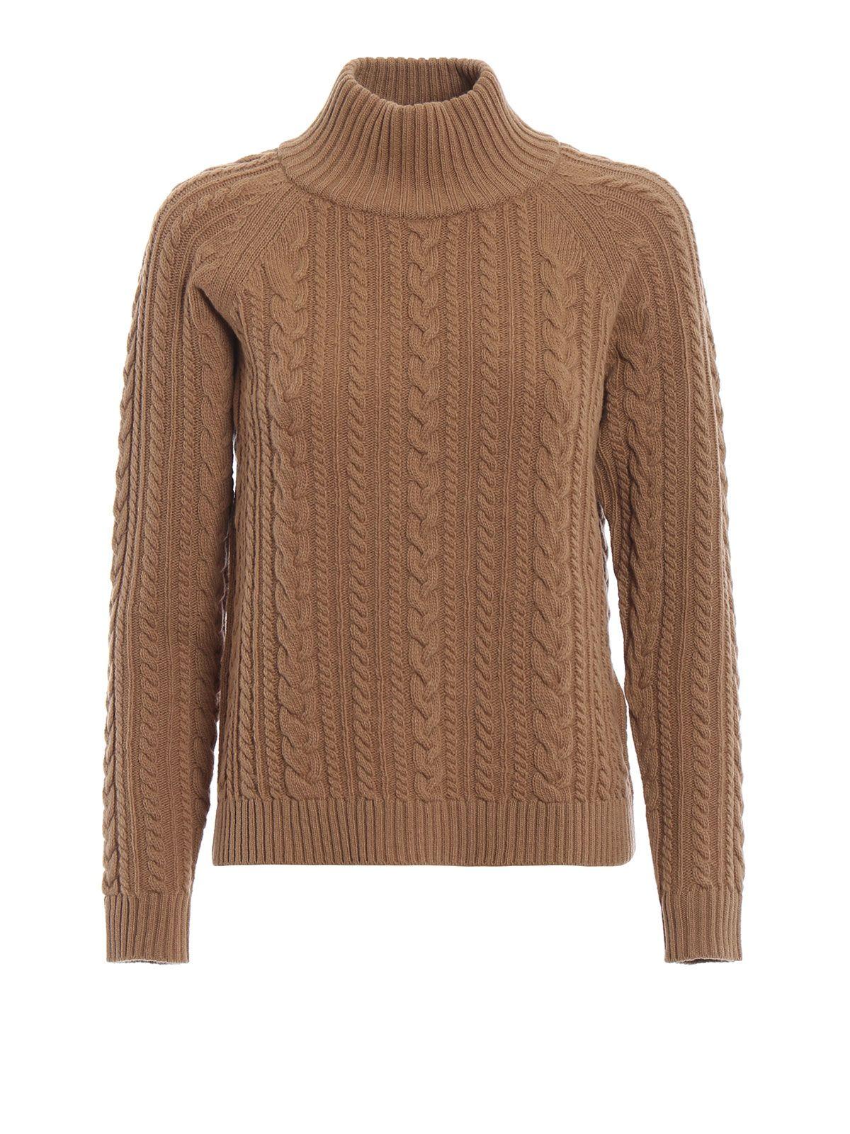 max mara - Brando Light Brown Braided Wool Turtleneck