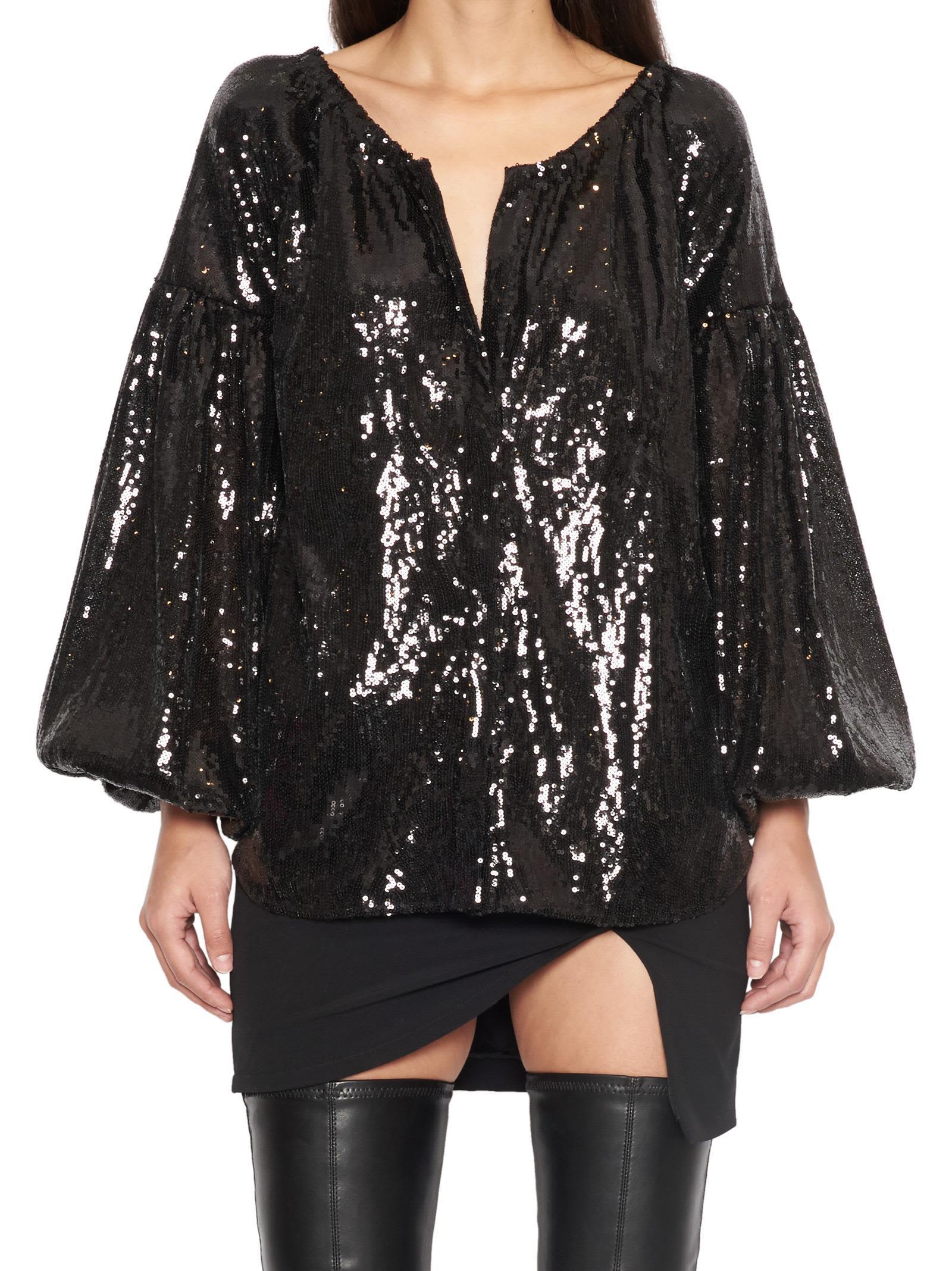 WANDERING Wandering Sequinned Oversized Blouse in Black