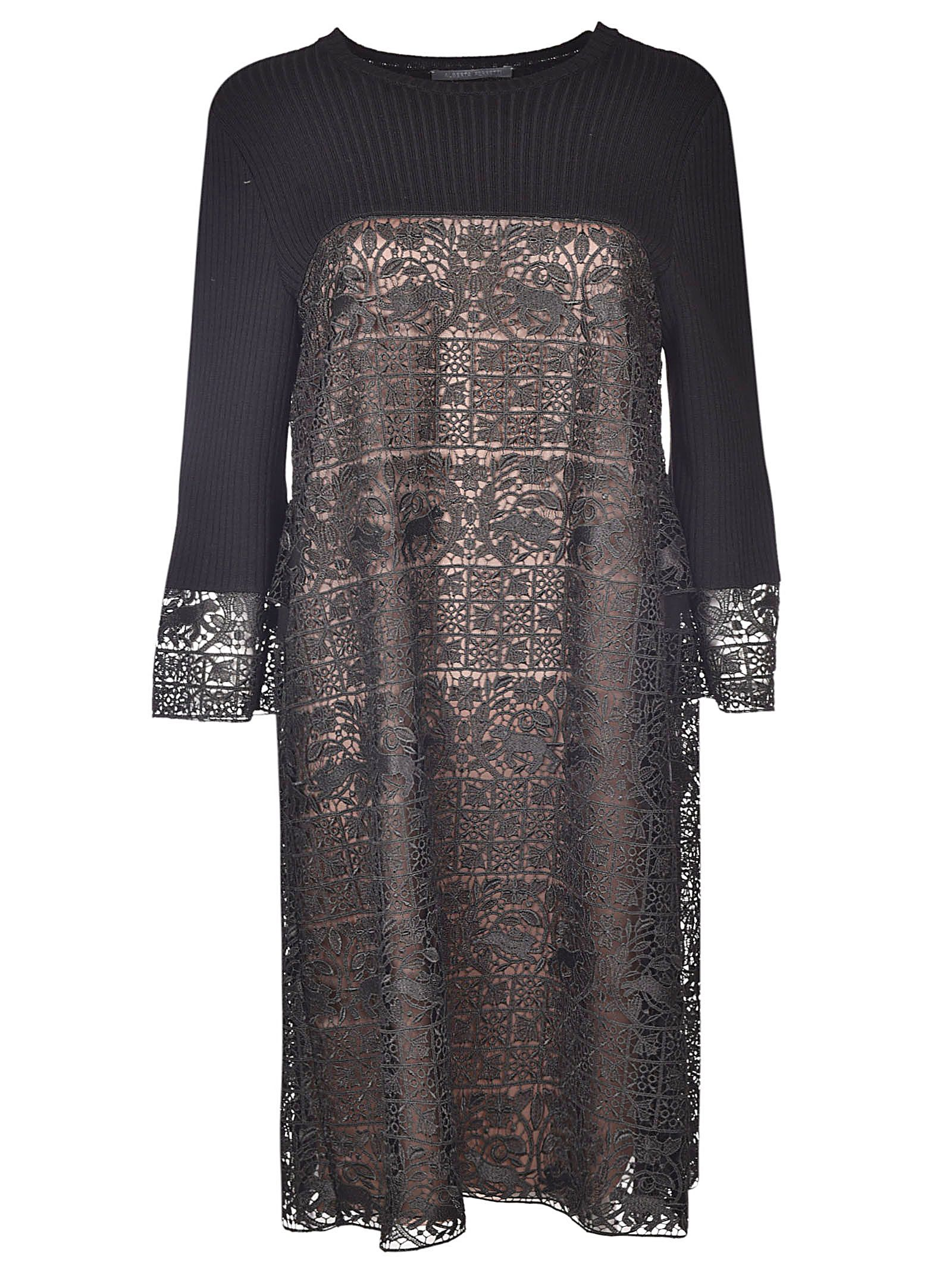 EMBROIDERED PANEL KNIT DRESS