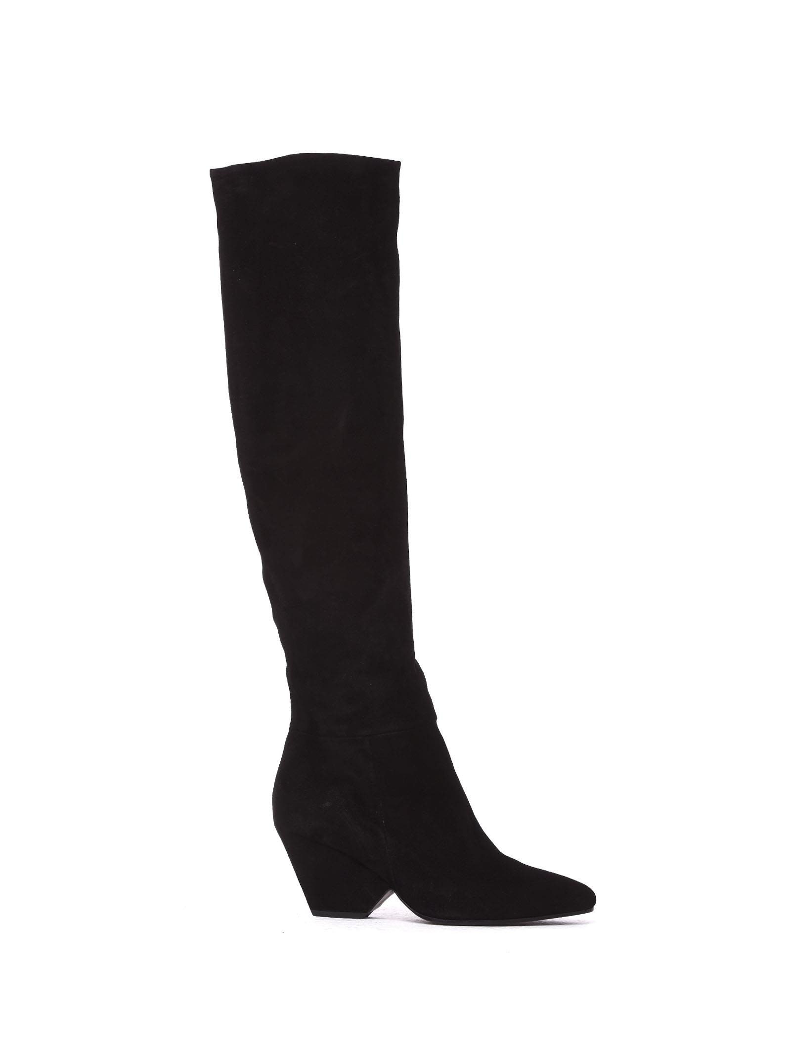 VIC MATIE Leather Stove Pipe Boots With Shell-Shaped Heel in Nero