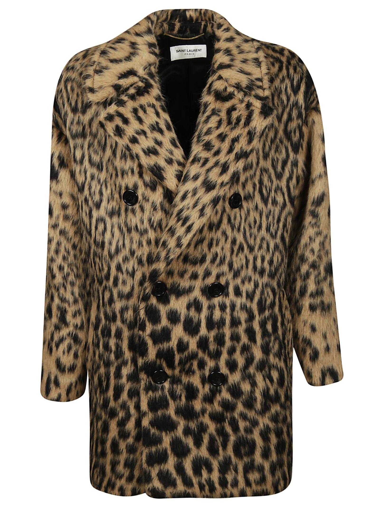 saint laurent -  Fur Leopard Coat