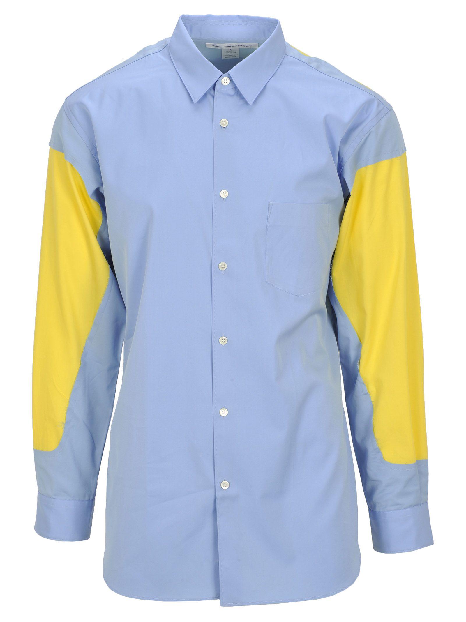 COMME DES GARÇONS BOYS Comme Des Garçons Boy Shirt in Light Blue/ Yellow