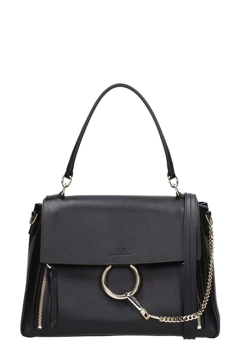 CHLOÉ FAYE MEDIUM BLACK GRAINED LEATHER SHOULDER BAG
