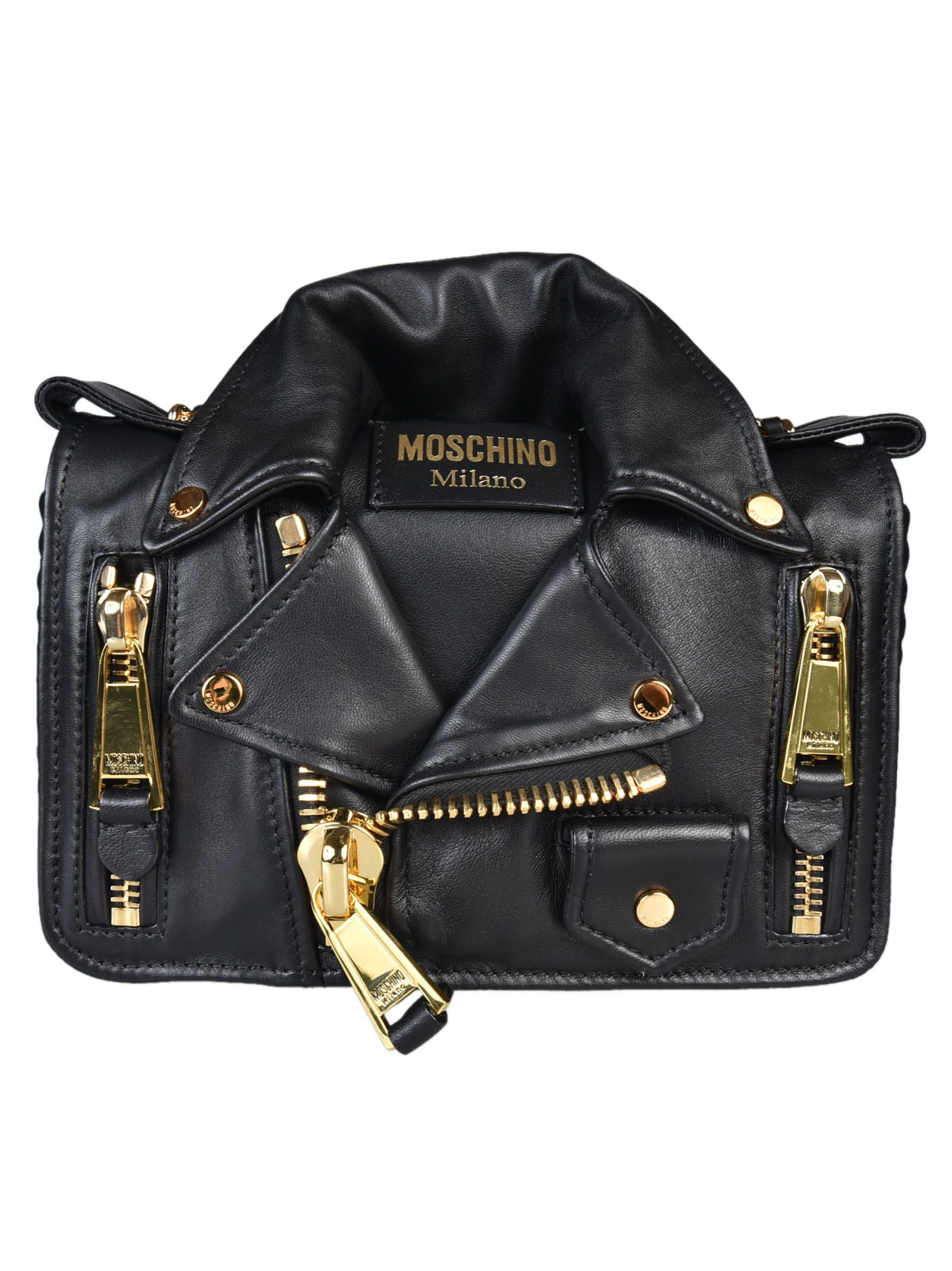 Clutch Bag On Sale, Black, Leather, 2017, one size Moschino